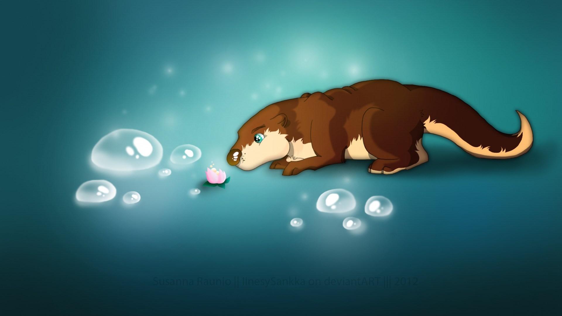 Flower Bubbles Otter Artwork
