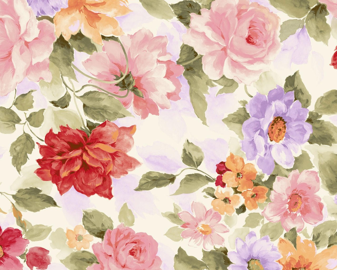Colors in Japanese Style - Sweet Flower Pattern Design 1280*1024 Wallpaper 3