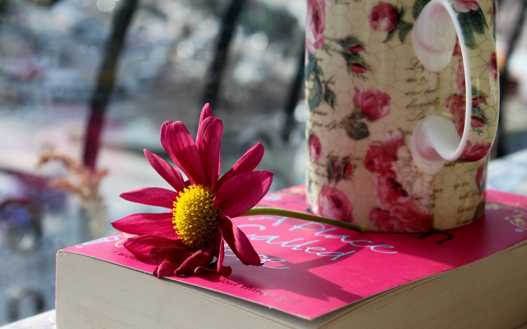 Flower Petals Pink Book Mug Cup
