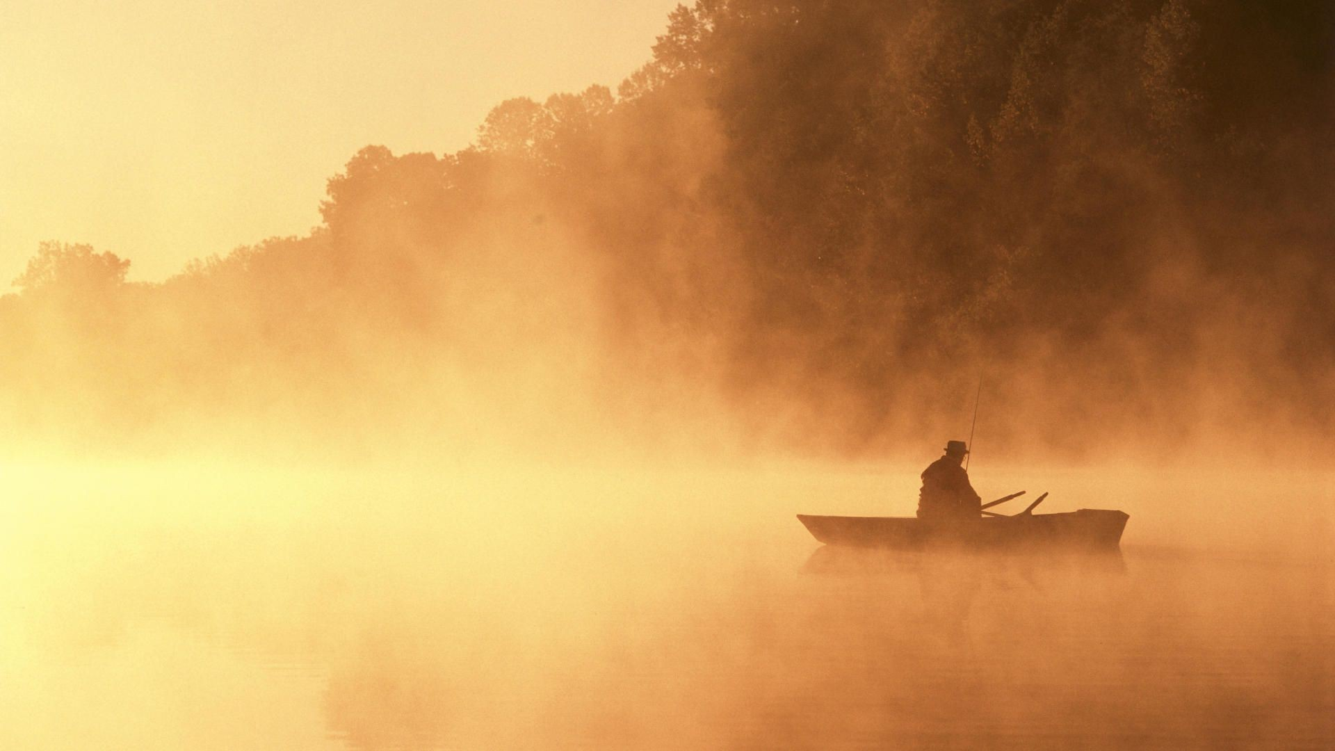 Fishing in The Fog Wallpaper 1920x1080px