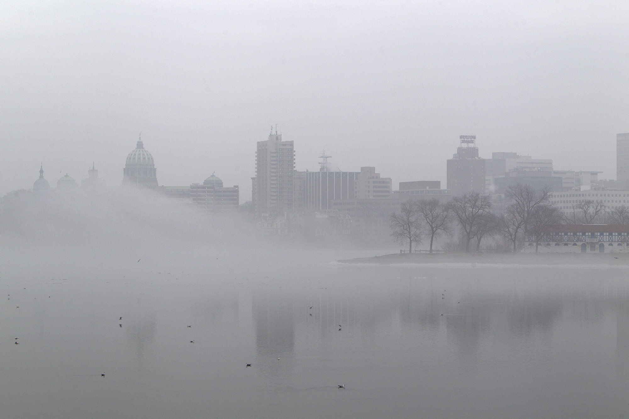 View full size Early morning fog on the Susquehanna River nearly covers the State Capitol and City Island in Harrisburg. Mark Pynes | mpynes@pennlive.com