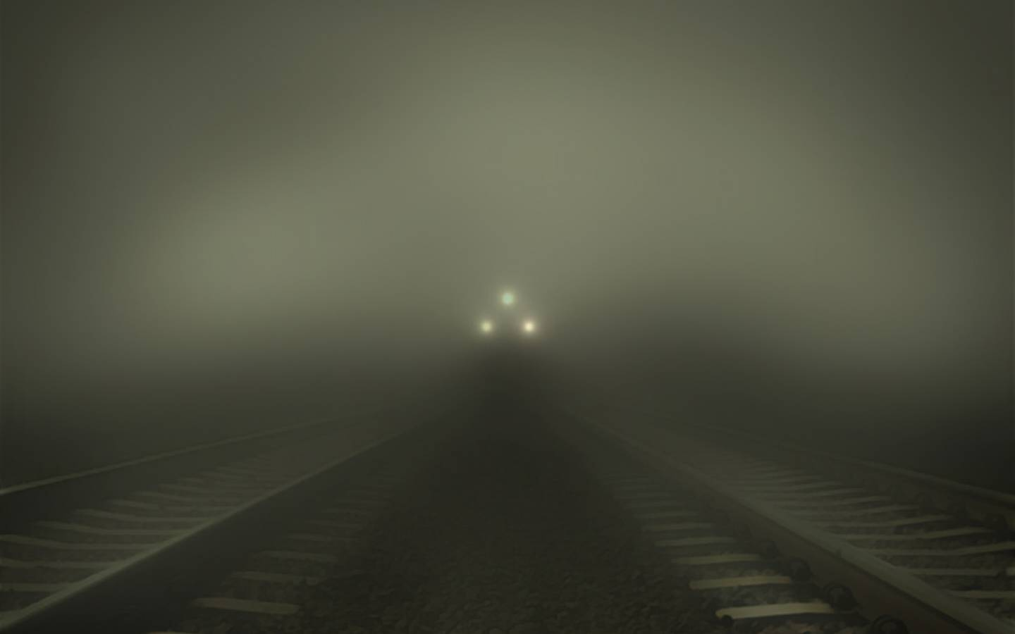 trains fog wallpaper