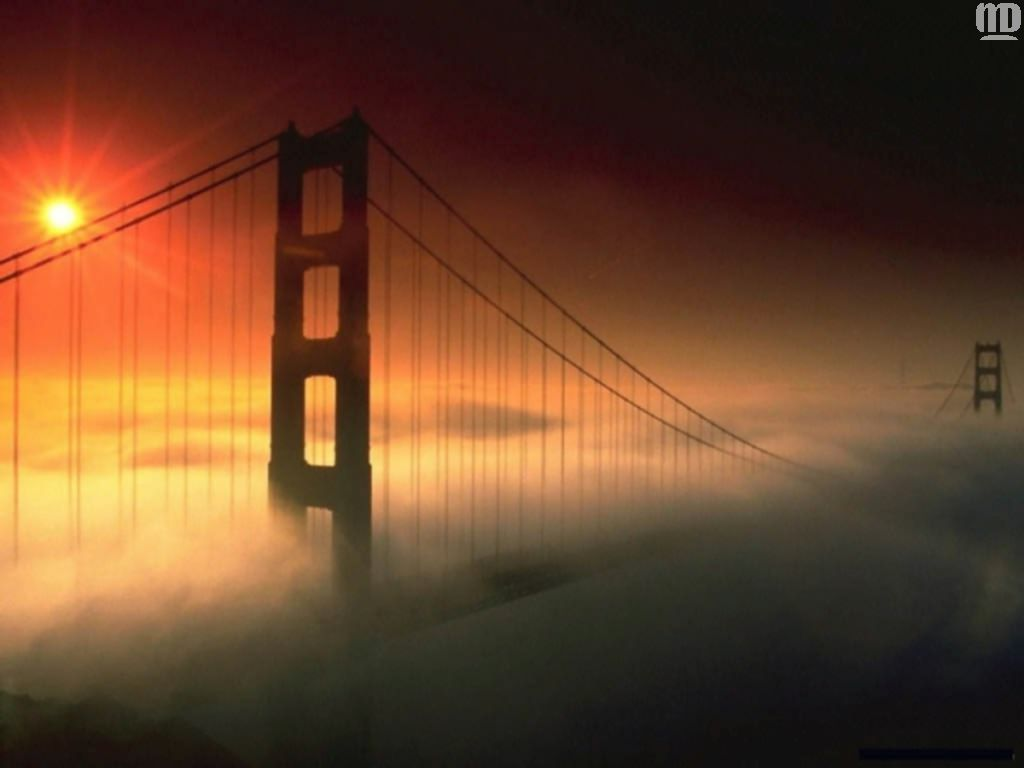 original wallpaper download: The bridge in a fog - 1366x768