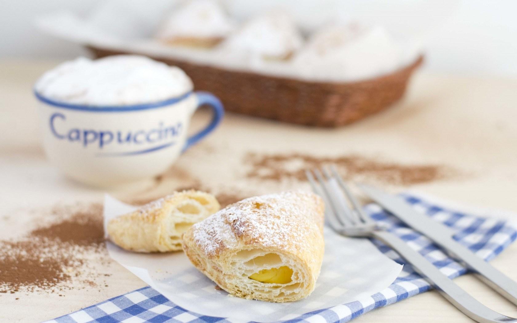 Food Breakfast Croissant Cup Dessert Cappuccino