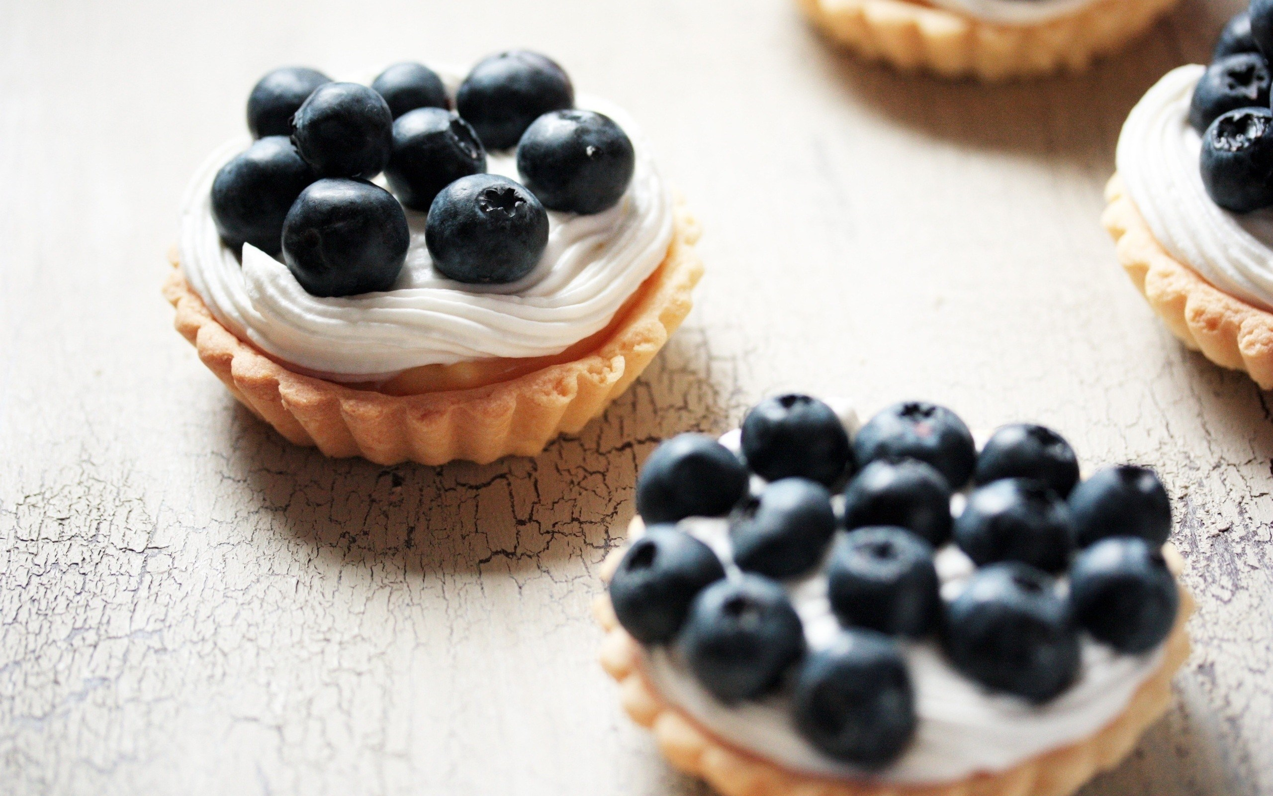 Food Cake Cream Blueberries Tasty