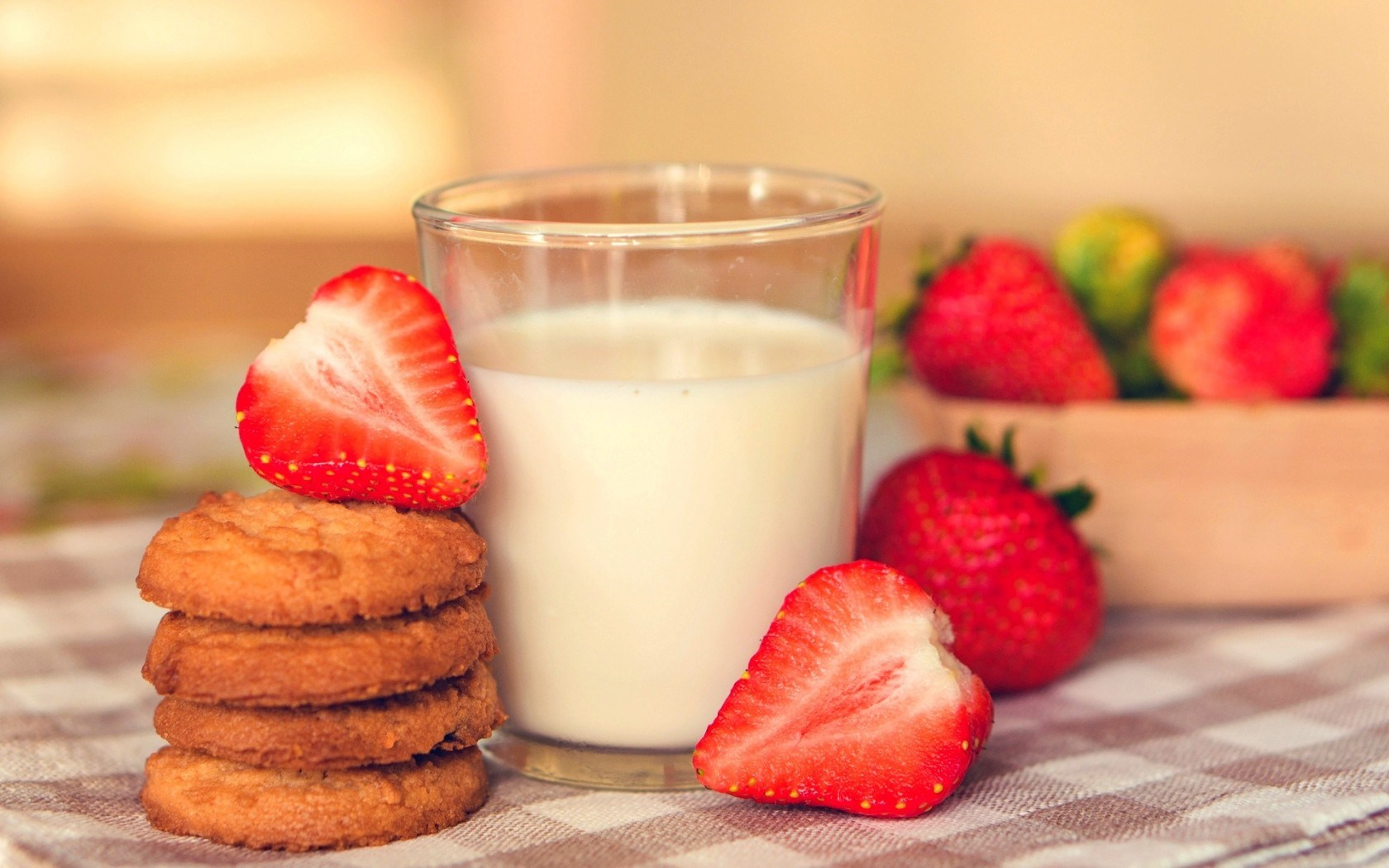 Food Milk Breakfast Cookies Dessert Strawberry Berry