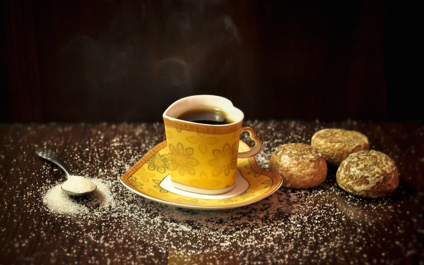 Food Mug Cup Tea Shape Heart Yellow Cakes