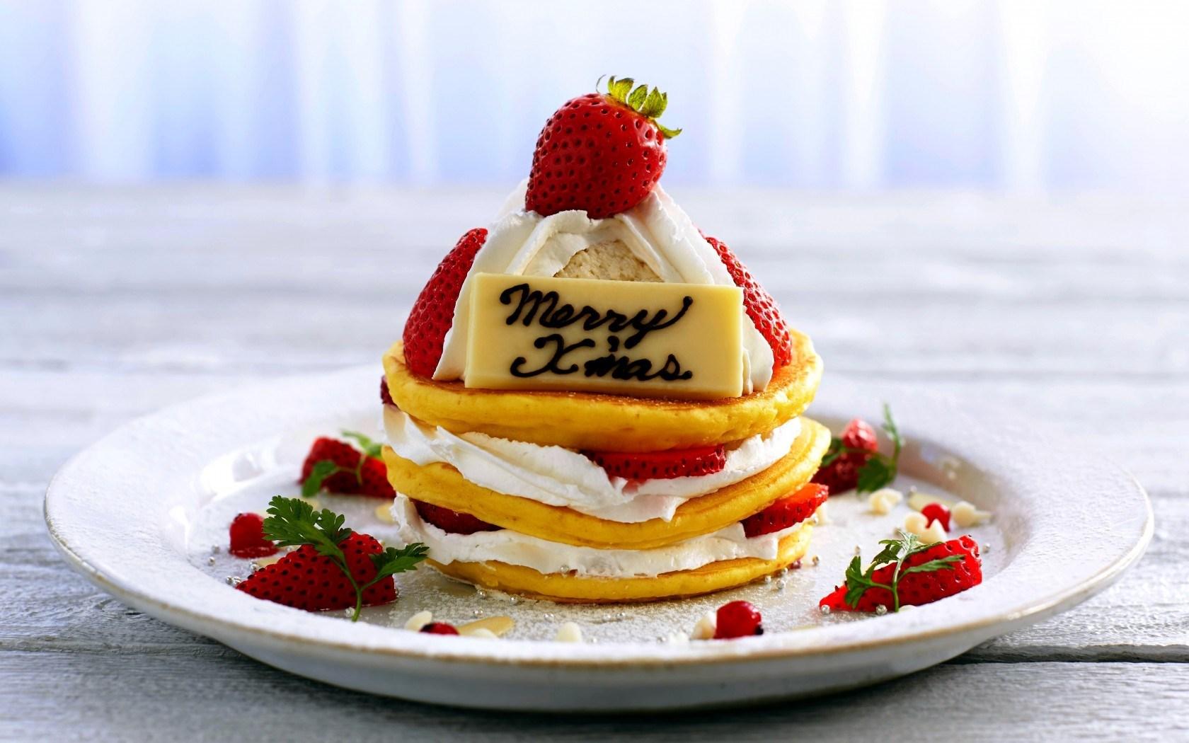 Food Pancakes Strawberries Cream Christmas New Year