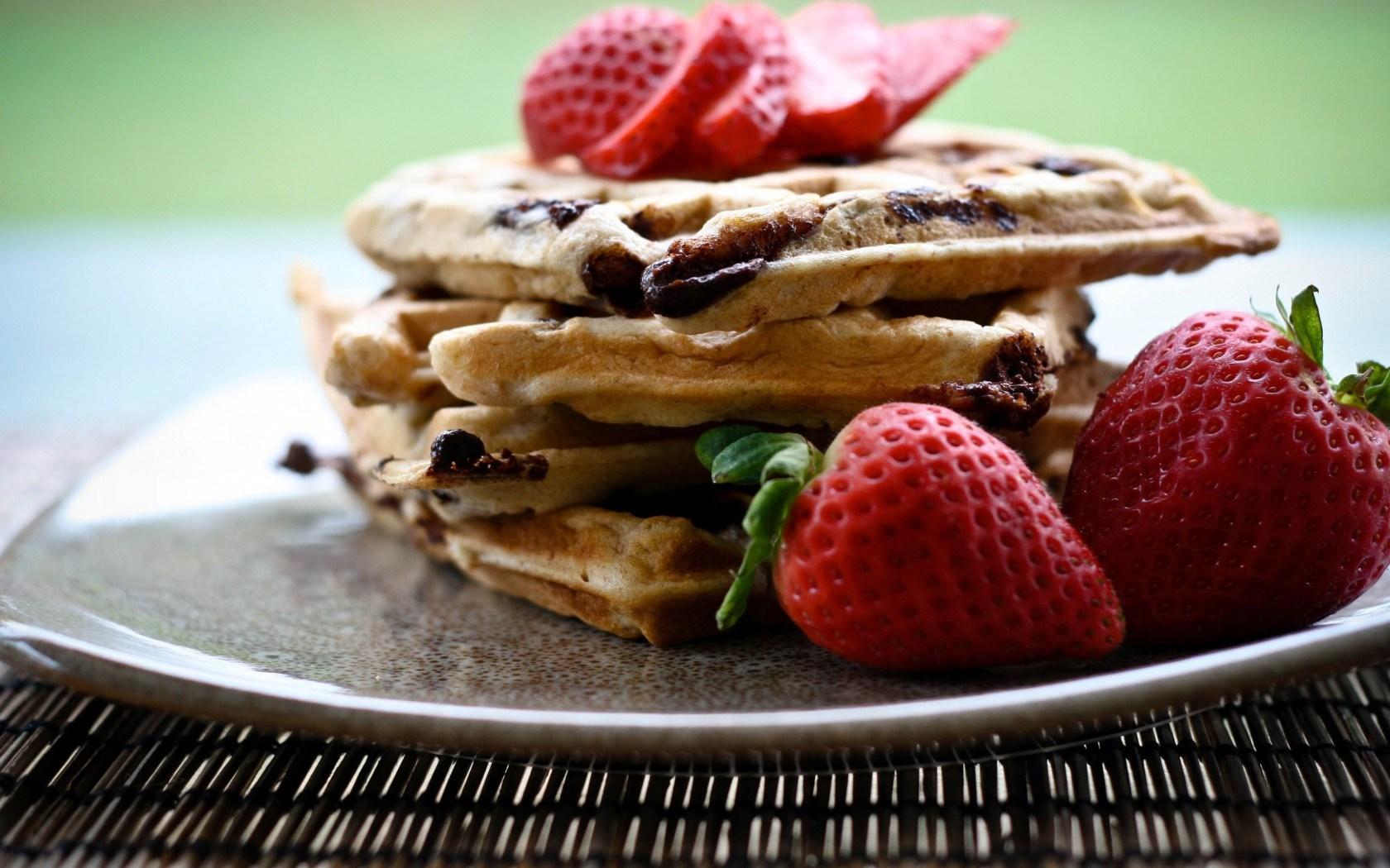 Food Waffles Sweet Dessert Strawberries