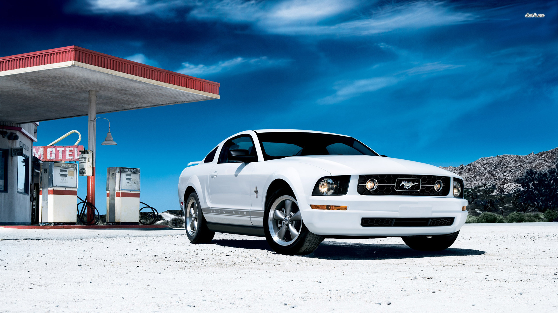 White Ford Mustang Wallpaper on Gas Station
