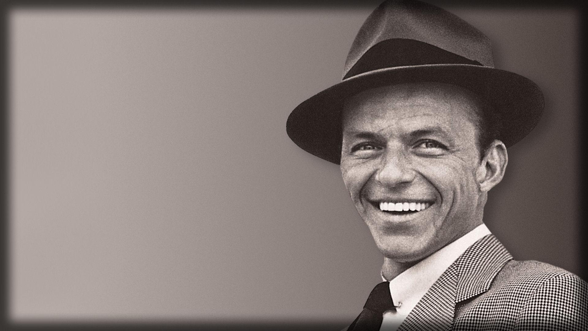 1920x1080 Wallpaper frank sinatra, smile, suit, hat, face