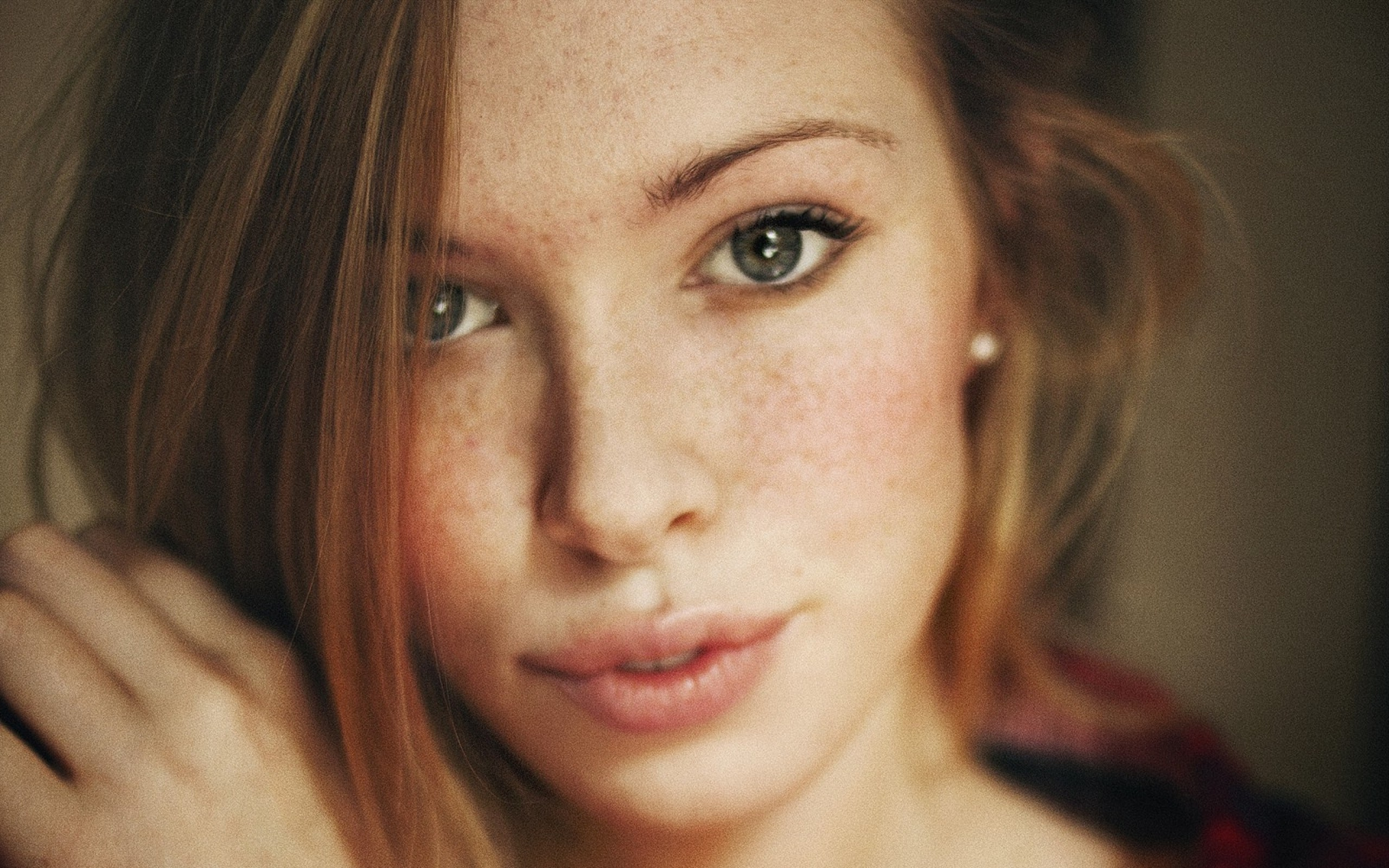 Cute freckled teen girl