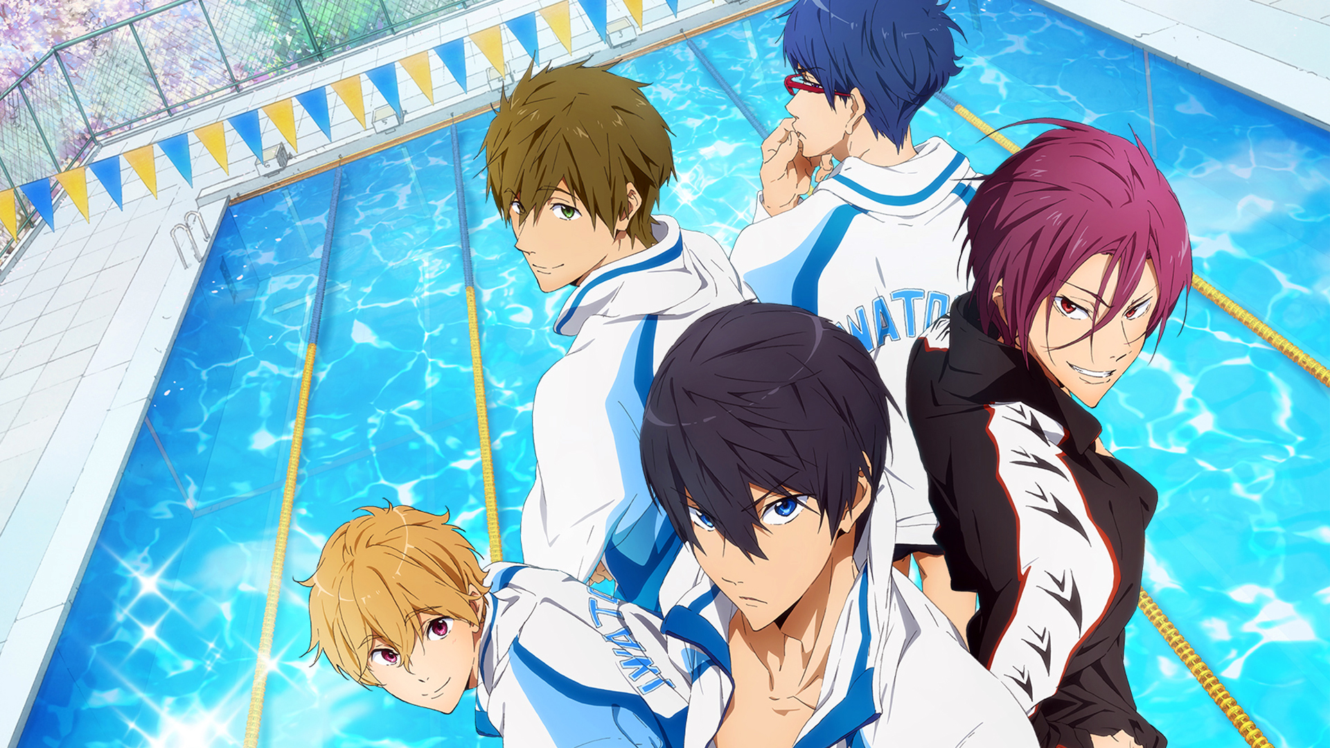Anime boys swimming pool free!