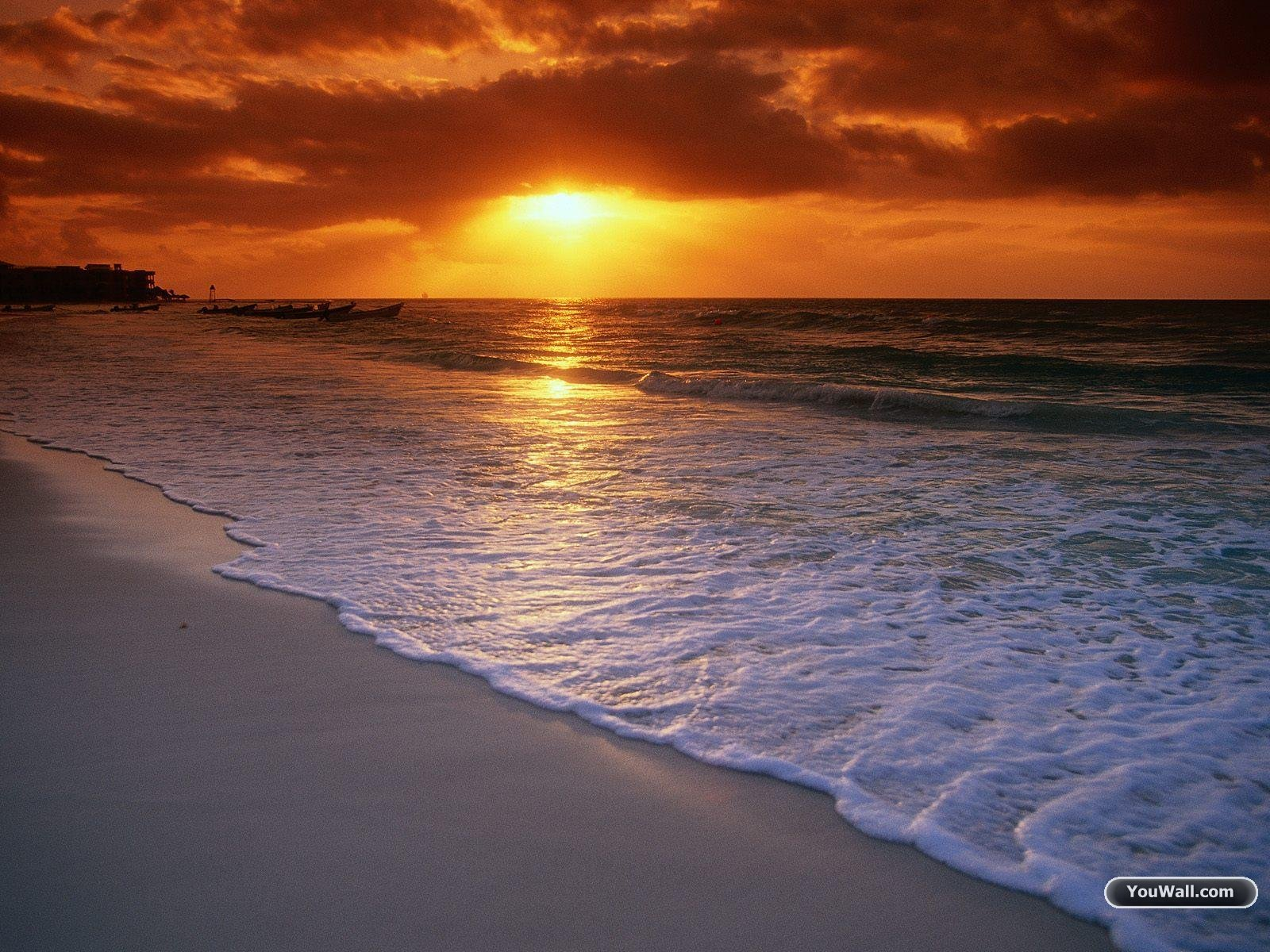 Free Beach Sunset Wallpaper