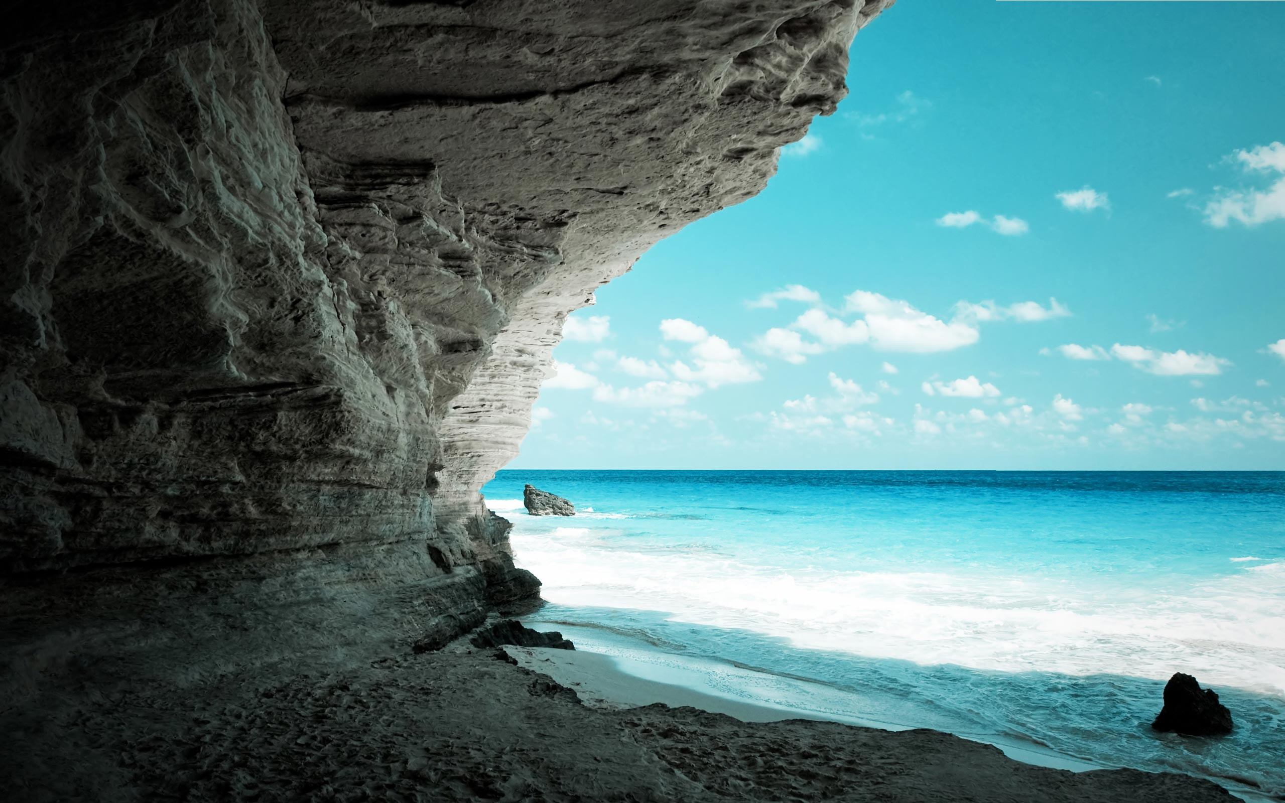 Free Wallpapers Sea from Beach Cave Wallpaper 2560x1600px
