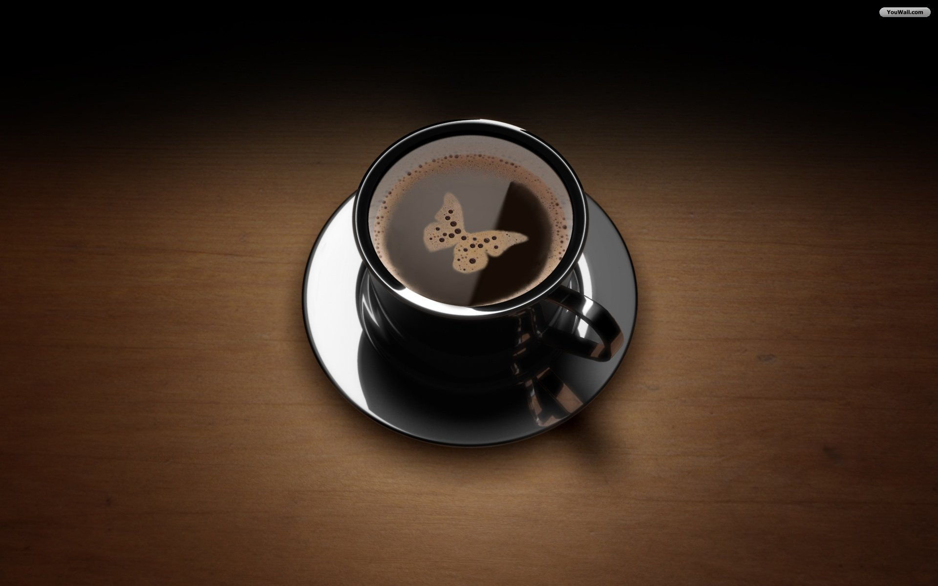 Butterfly on Coffee Wallpaper
