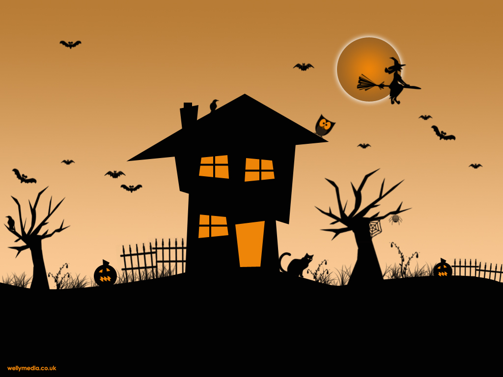 A fun Halloween scene waits for you in this Halloween wallpaper. Pumpkins, crows, dead trees, bats, owls, a haunted house, spiders, black cats and a full ...