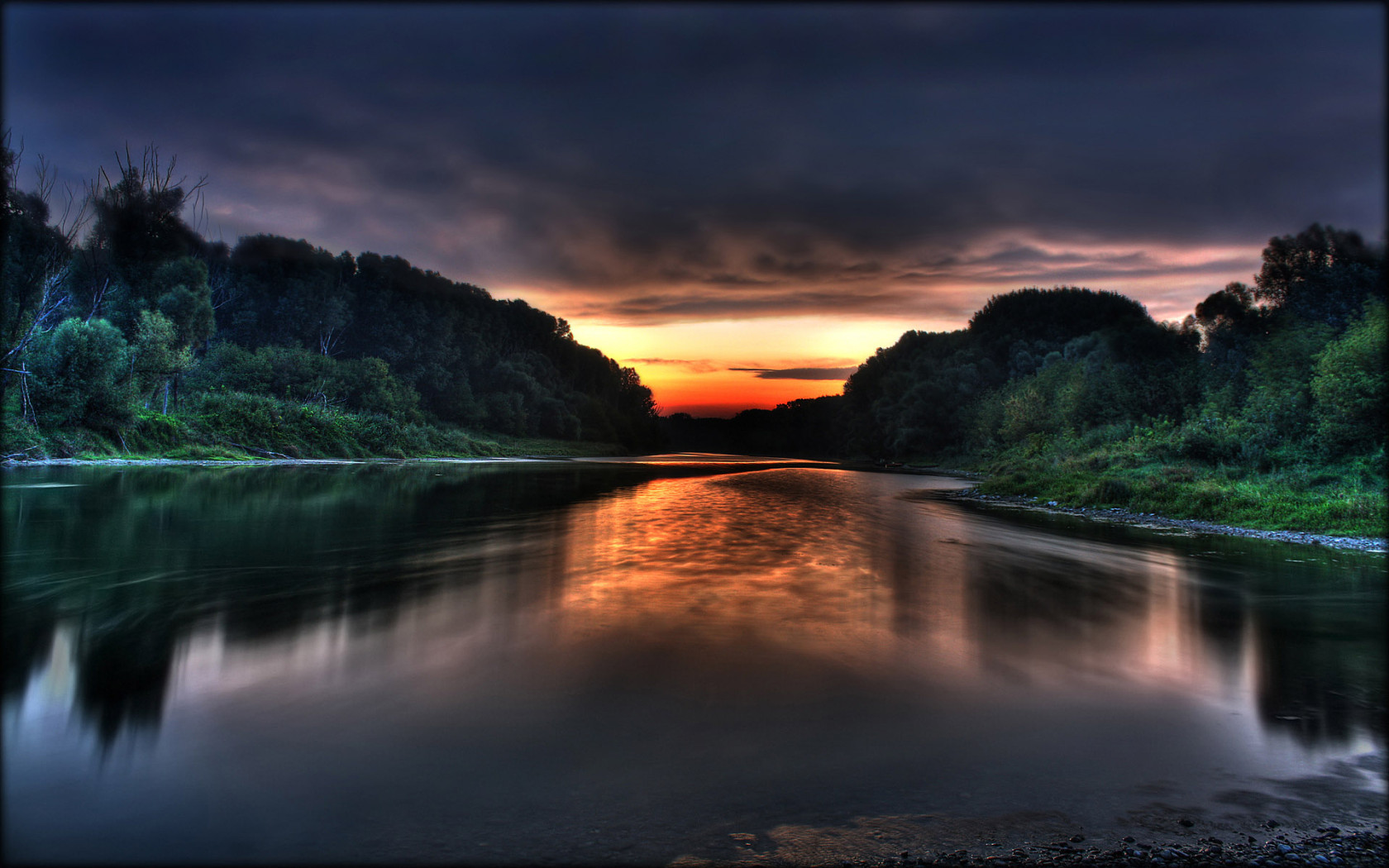 River at sunset HDR - Free desktop wallpapers download