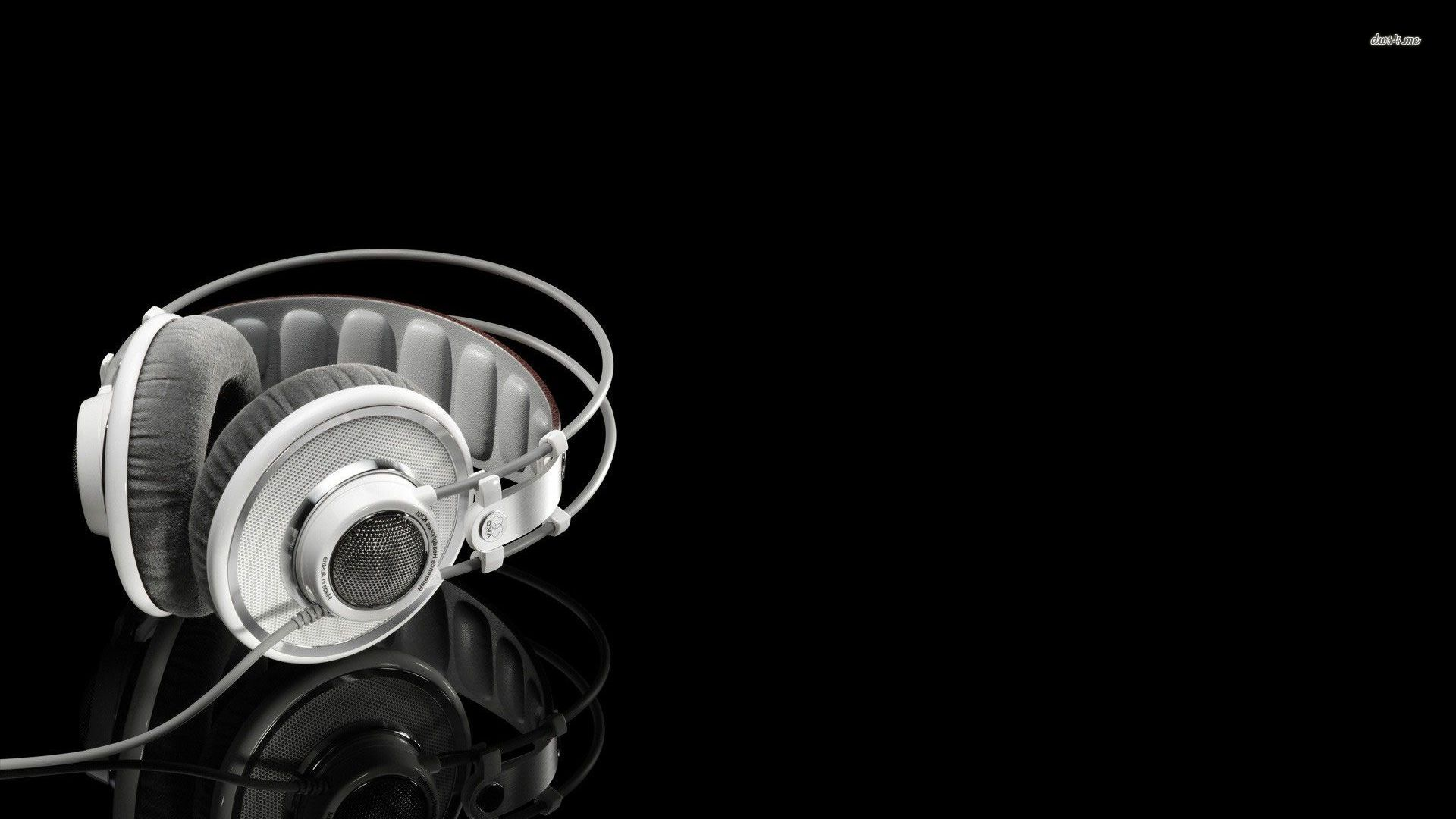 White Headphones Music Wallpaper