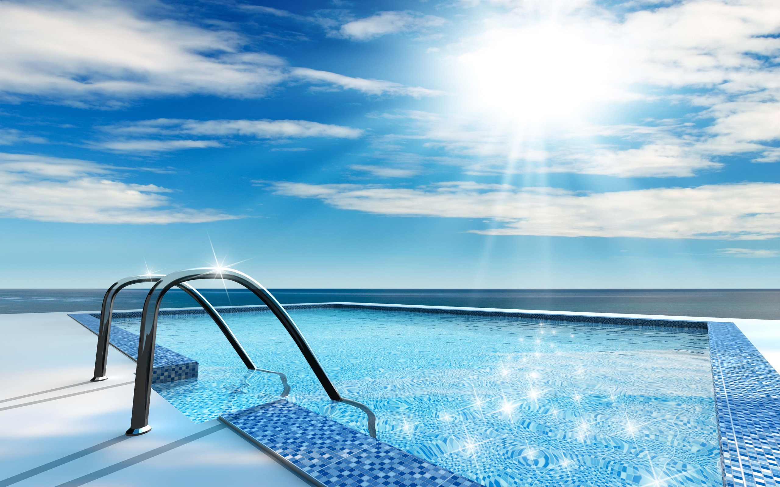 hd swimming pool and lue sky free wallpaper