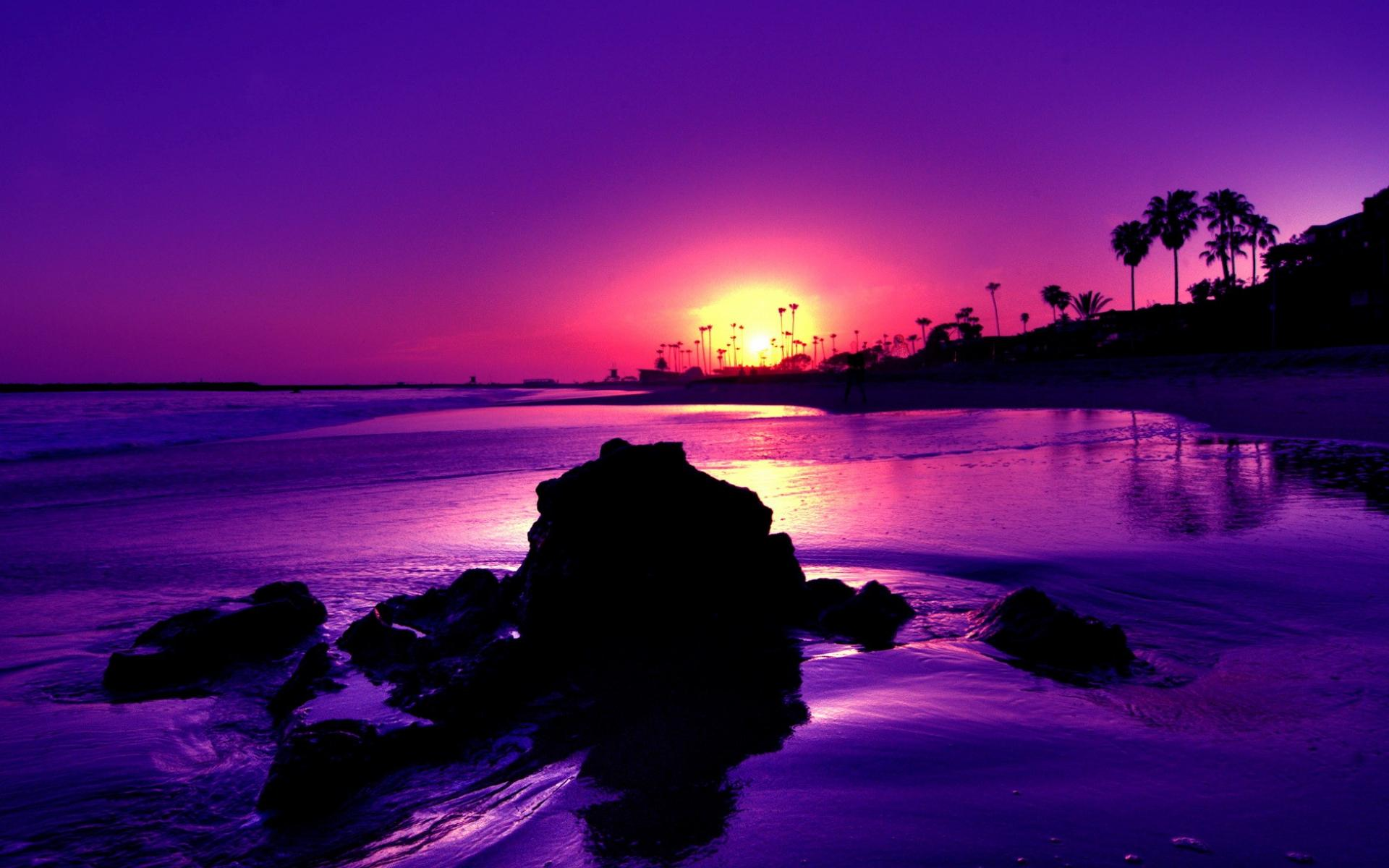 Nature Landscapes Widewallpaper Purple Sunset Wallpaper
