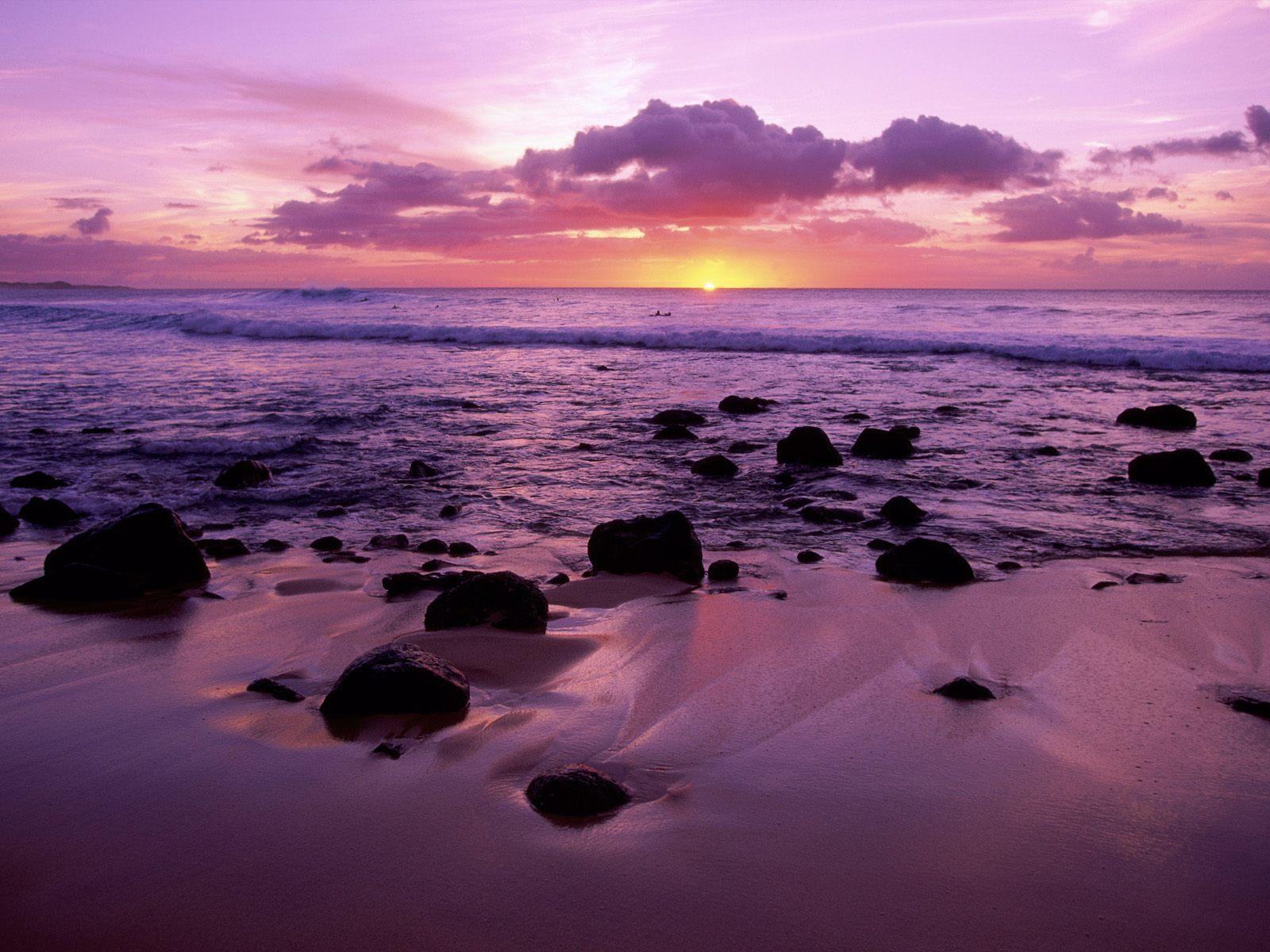 Shoreline at sunset free wallpaper in free desktop backgrounds category: Shoreline-landscape.