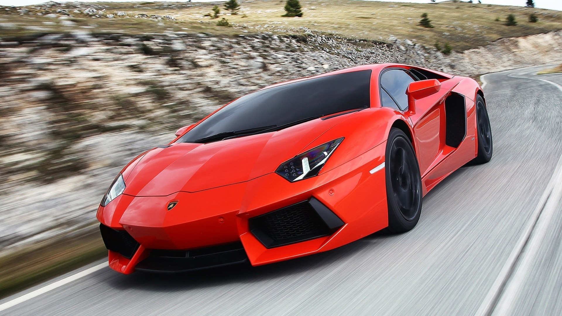 Red Cars Lamborghini Aventador Supercar Wallpaper 1920x1080px