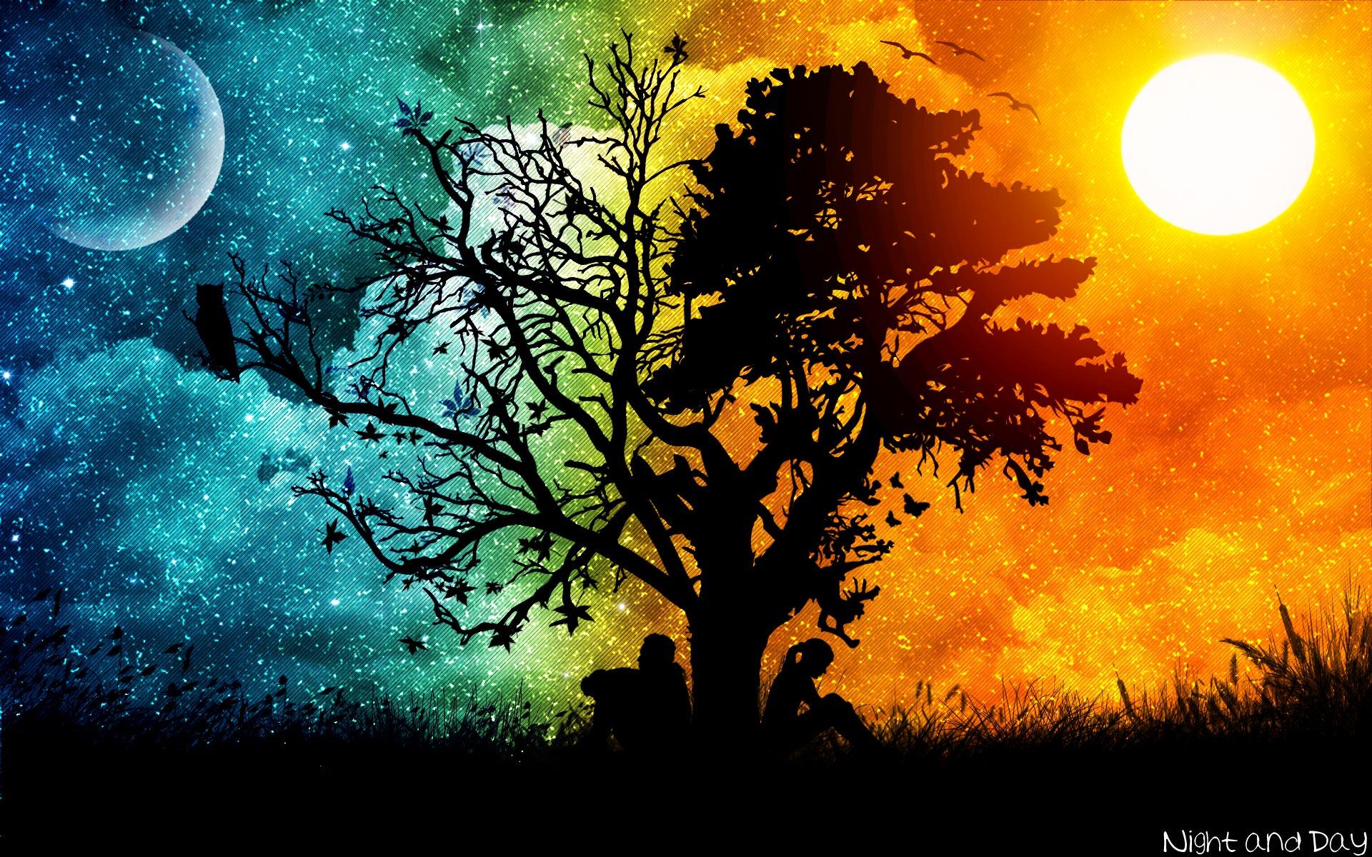 Free Tree Silhouette Wallpaper