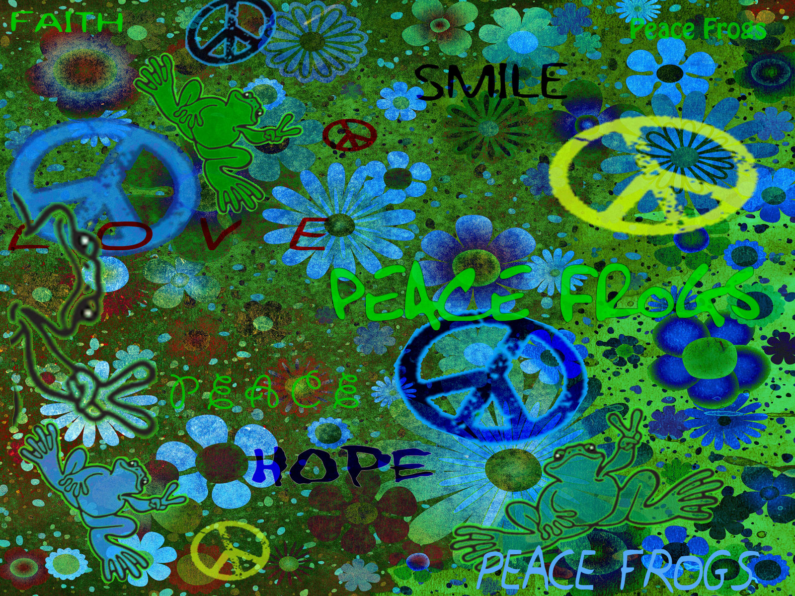 """Easy Being Green"" - Peace Frogs Free Wallpaper Download. """