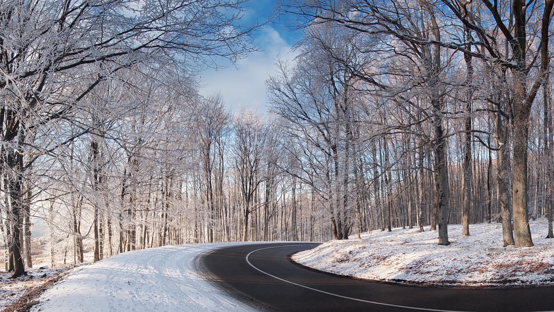 Free Winter Road Wallpaper