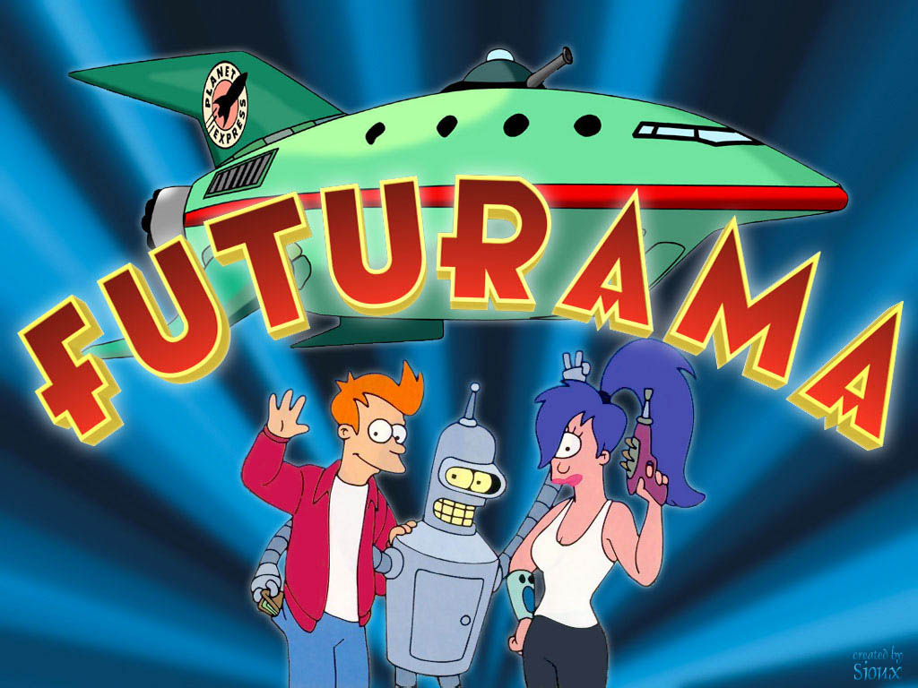 Composite Image of Futurama logo, space ship, and main characters Fry, Bender,