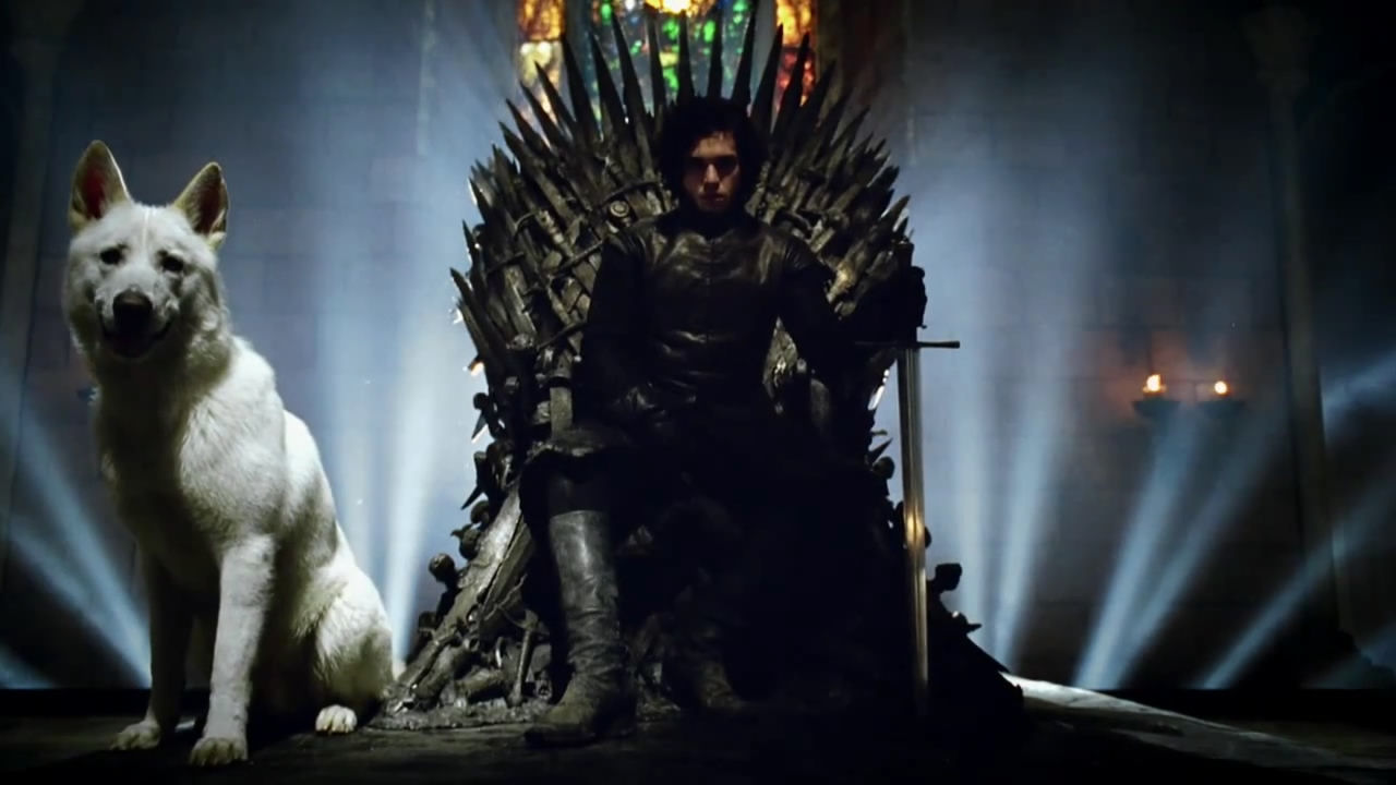 Jon Snow on the Iron Throne with Ghost (Game of Thrones)