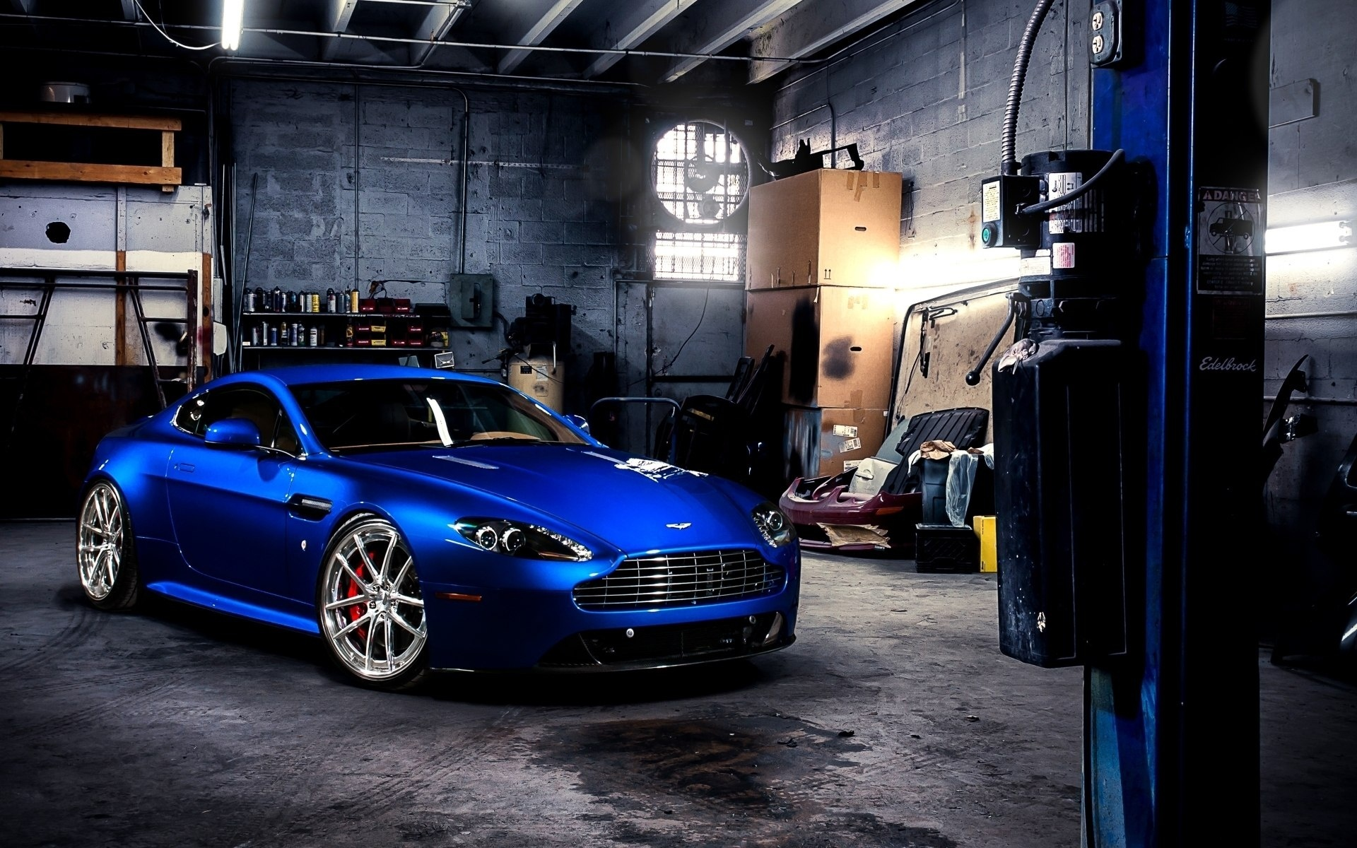 Metallic Blue Aston Martin In Garage Hd Desktop Wallpaper