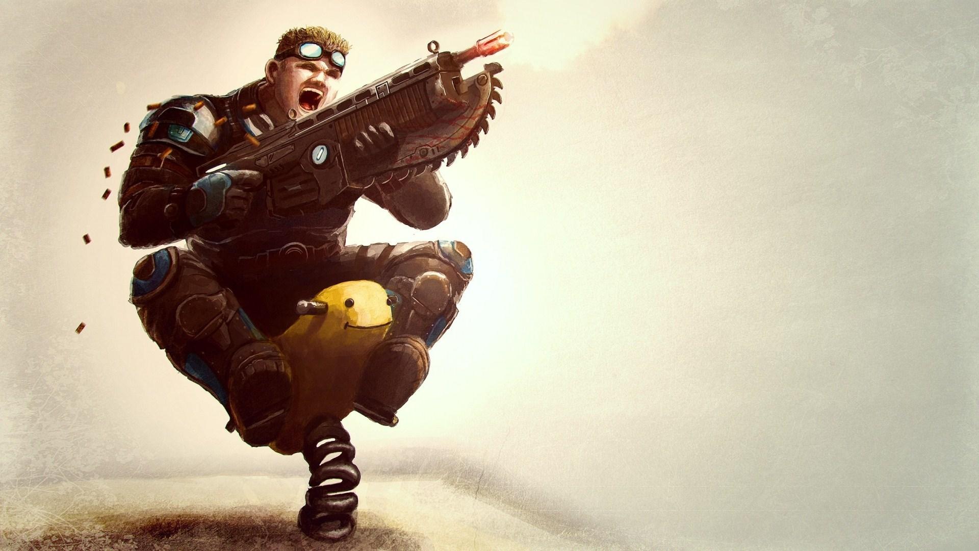 Gears of War Soldier Gun Game Funny Creative
