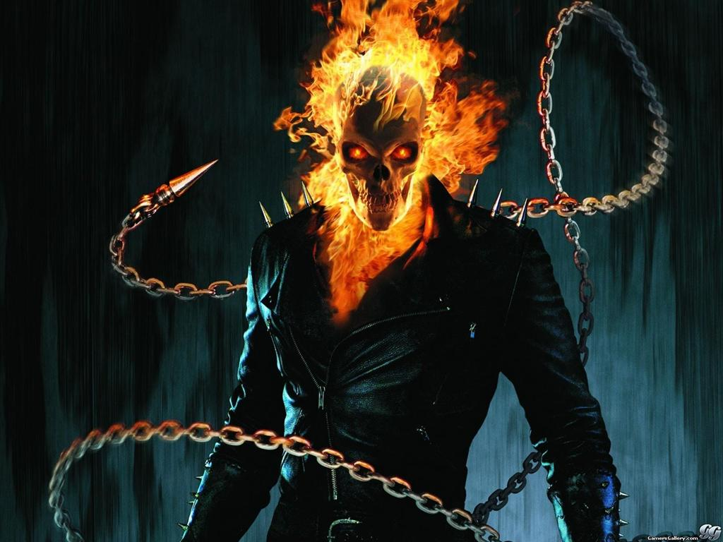 Not so the Ghost Rider, though you'd be forgiven for thinking that, because he does have a skull for a face. It's not just any skull, though, it's a FLAMING ...