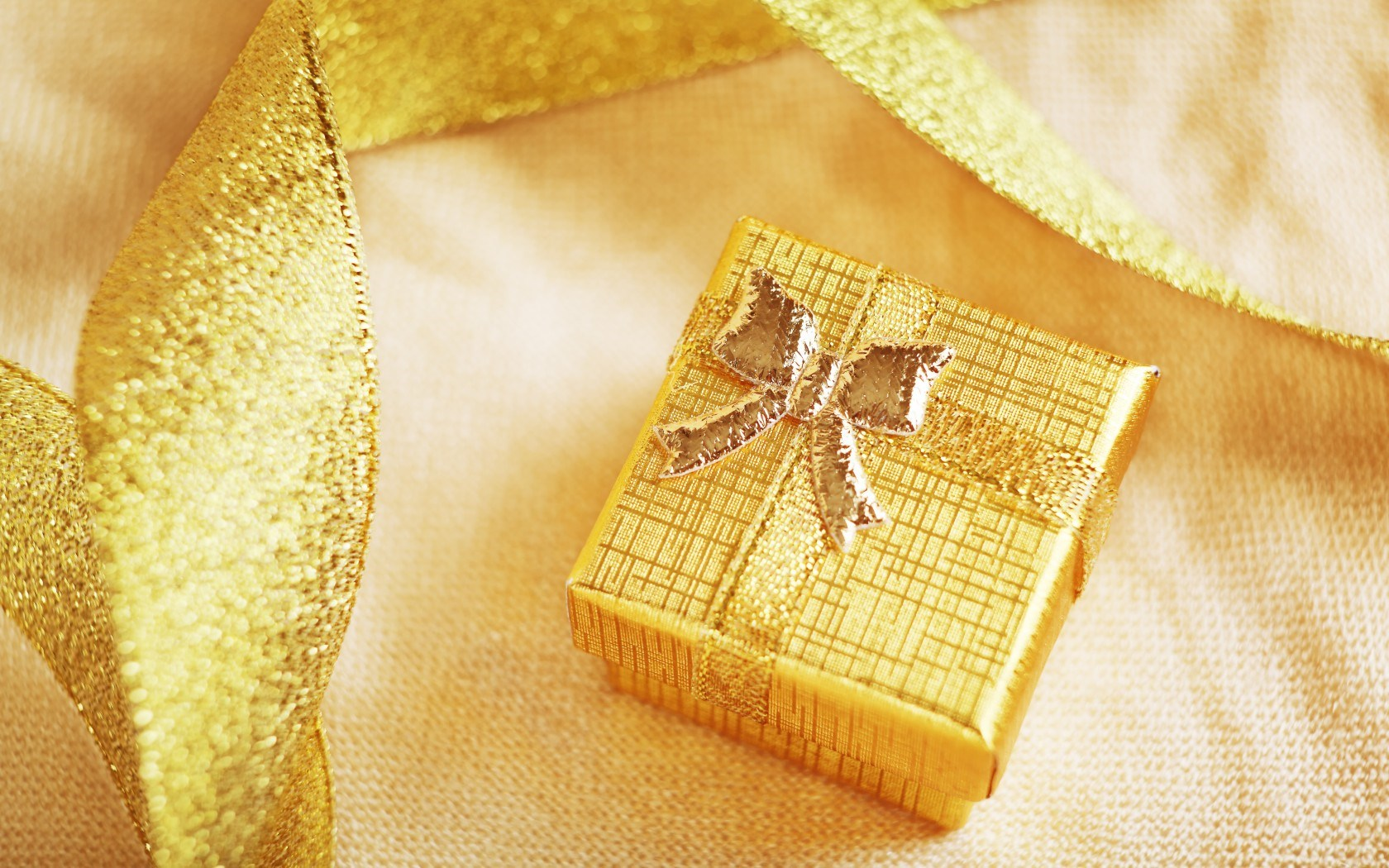 Gift Box Gold Ribbon Holiday Winter Christmas