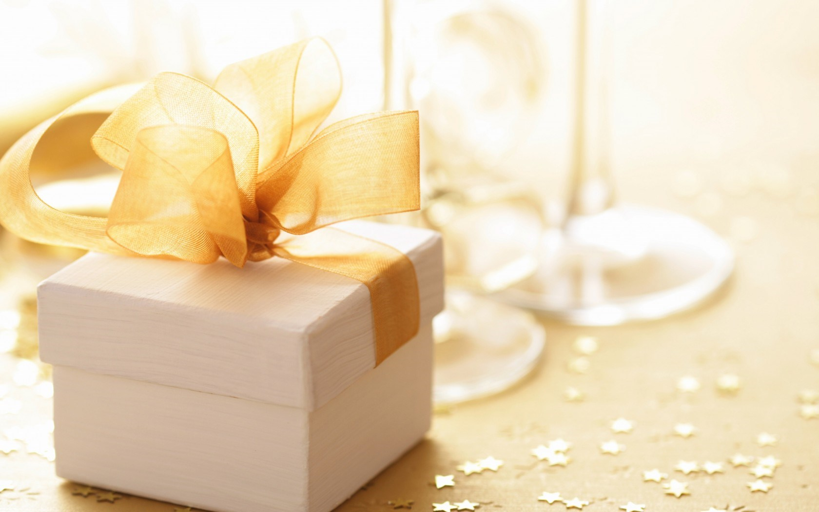 Gift Box Stars Gold Champagne Glasses New Year