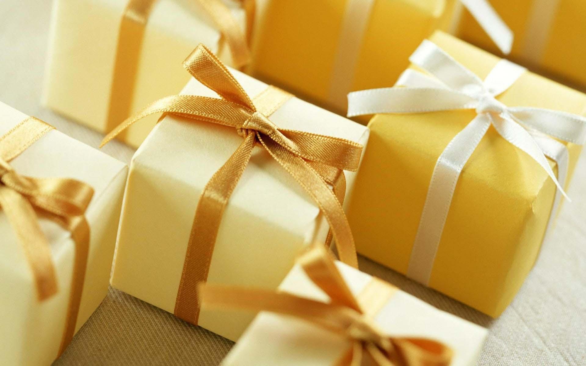 Holidays Gifts Boxes Ribbon Bows Macro Wallpaper 1920×1200