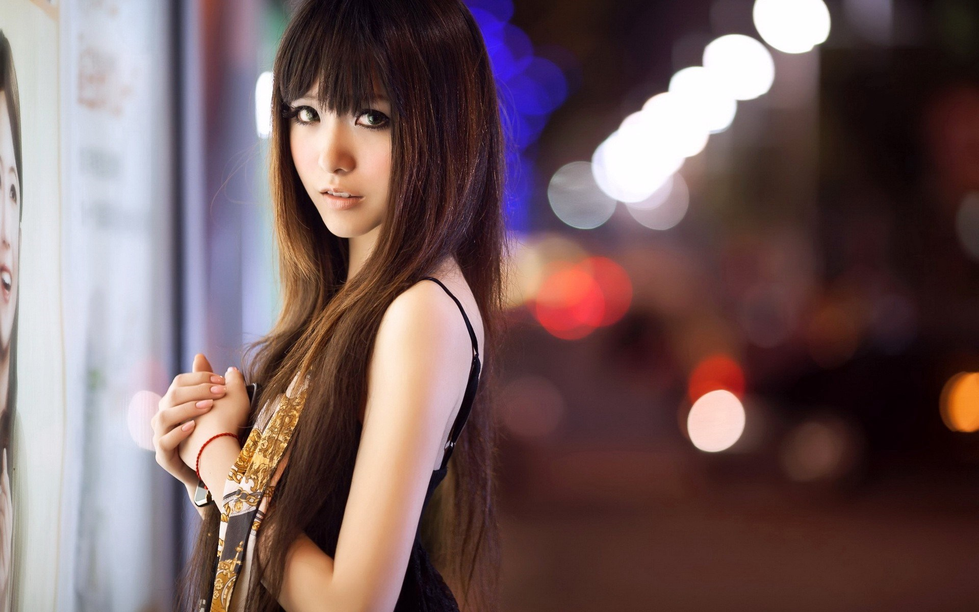 Asian Girl City Lights