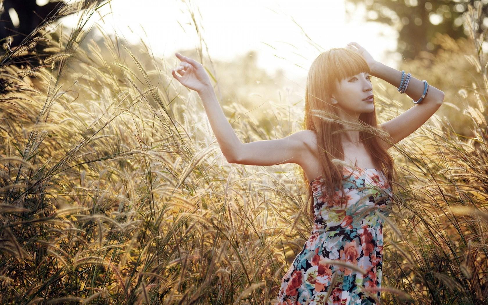 Girl Asian Mood Field Nature