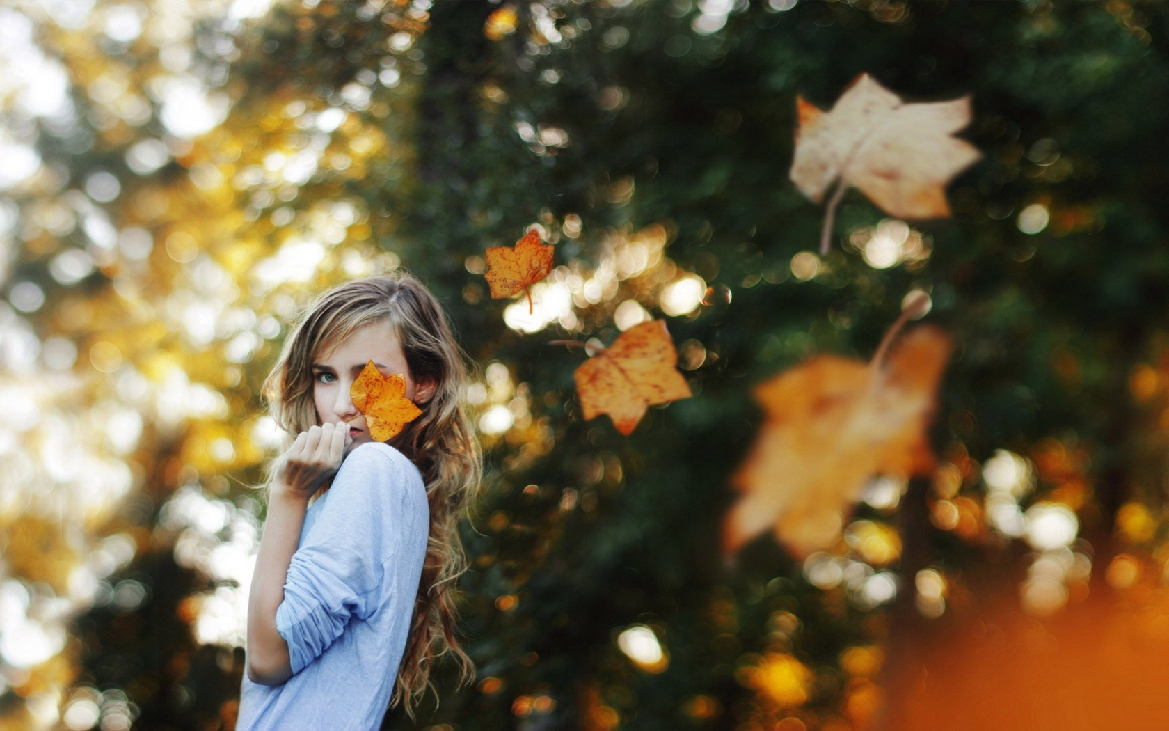 Girl Blonde Autumn Foliage Wind