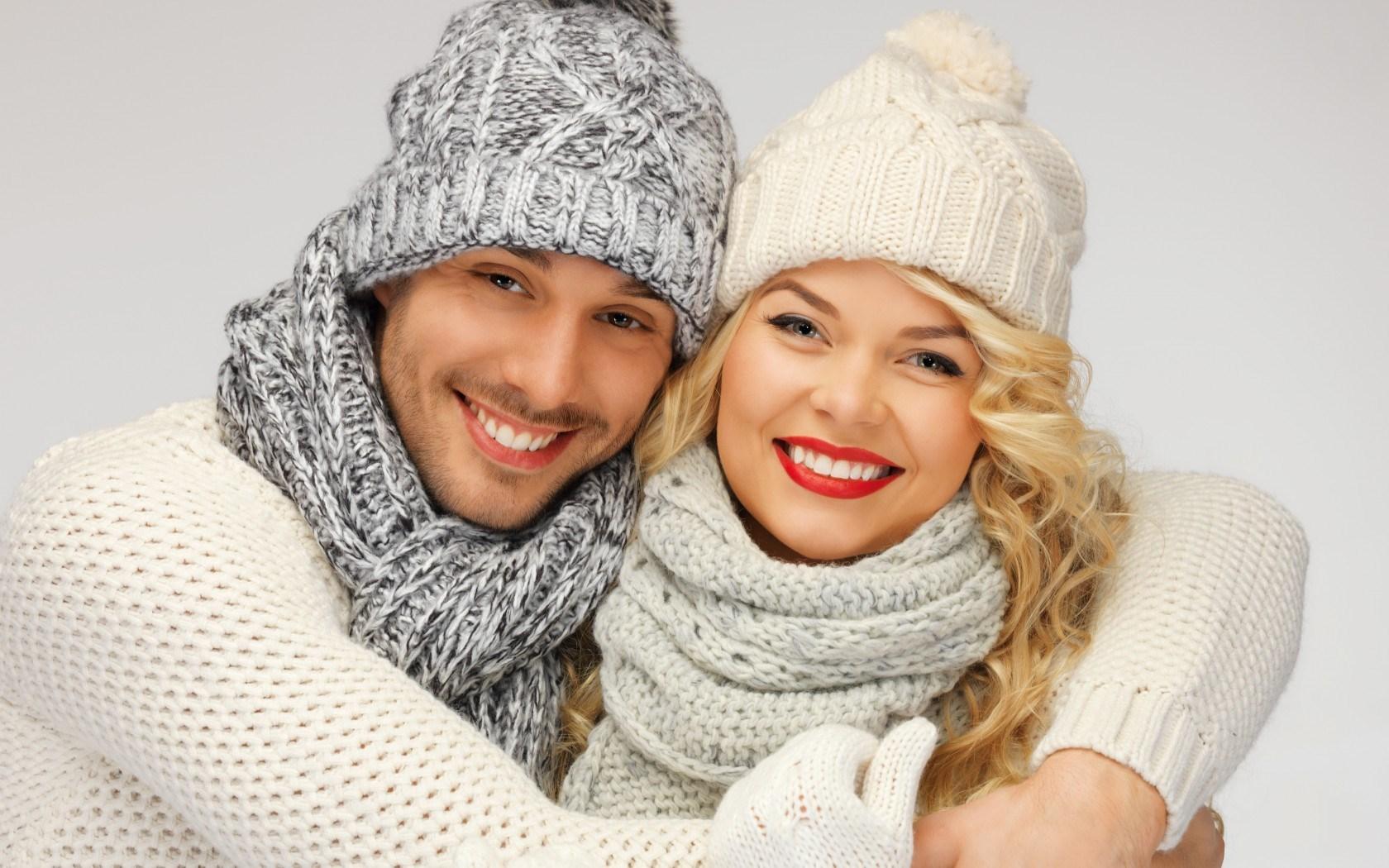 Girl Blonde Boy Smile Winter