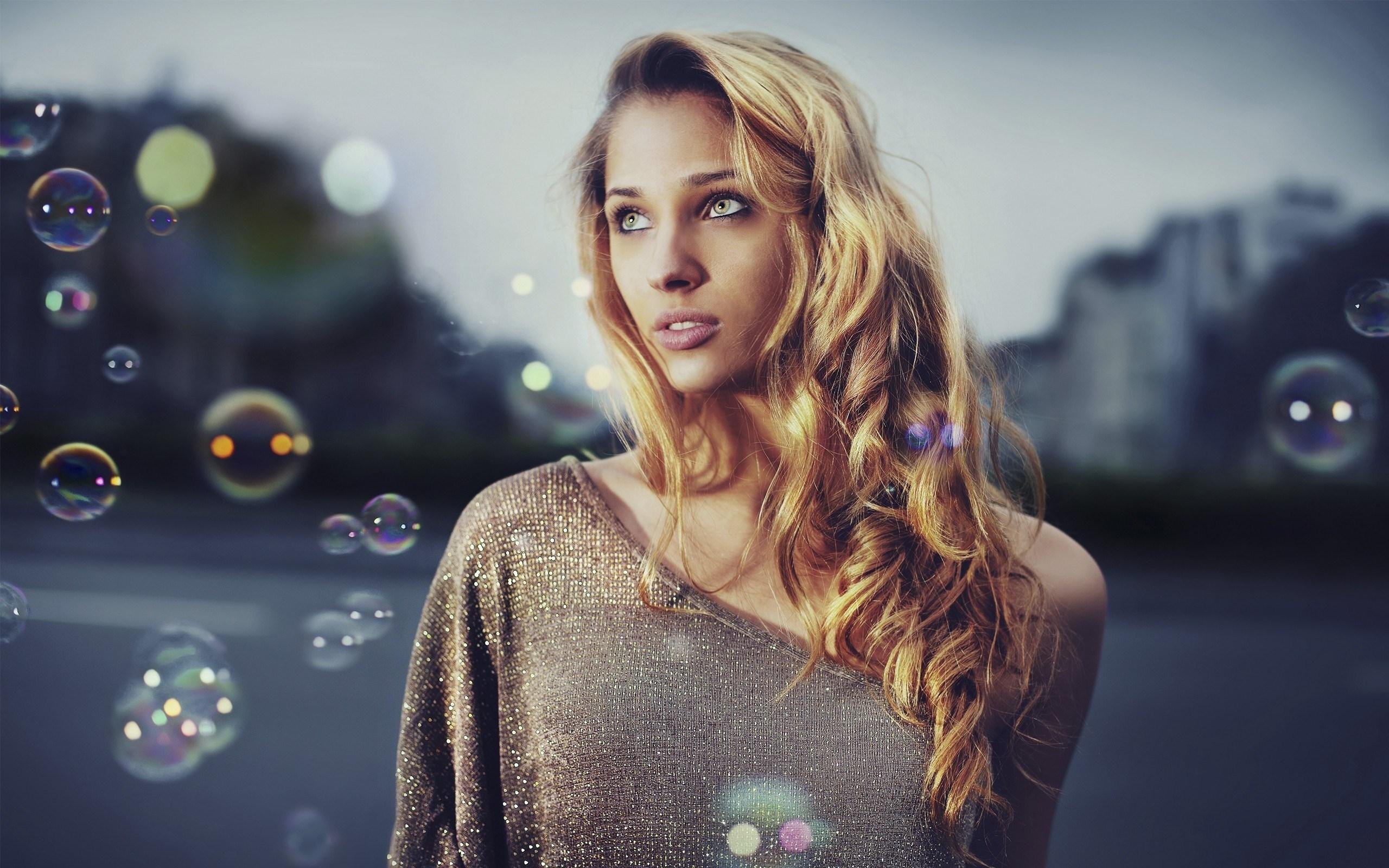Girl Blonde Bubbles