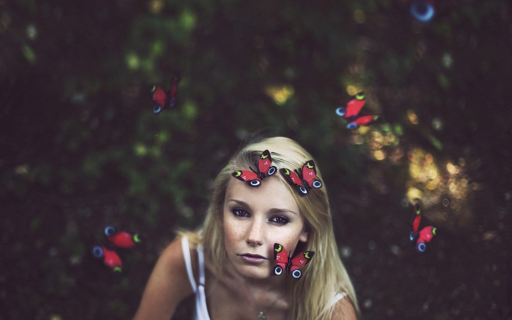 Girl Blonde Butterflies Mood