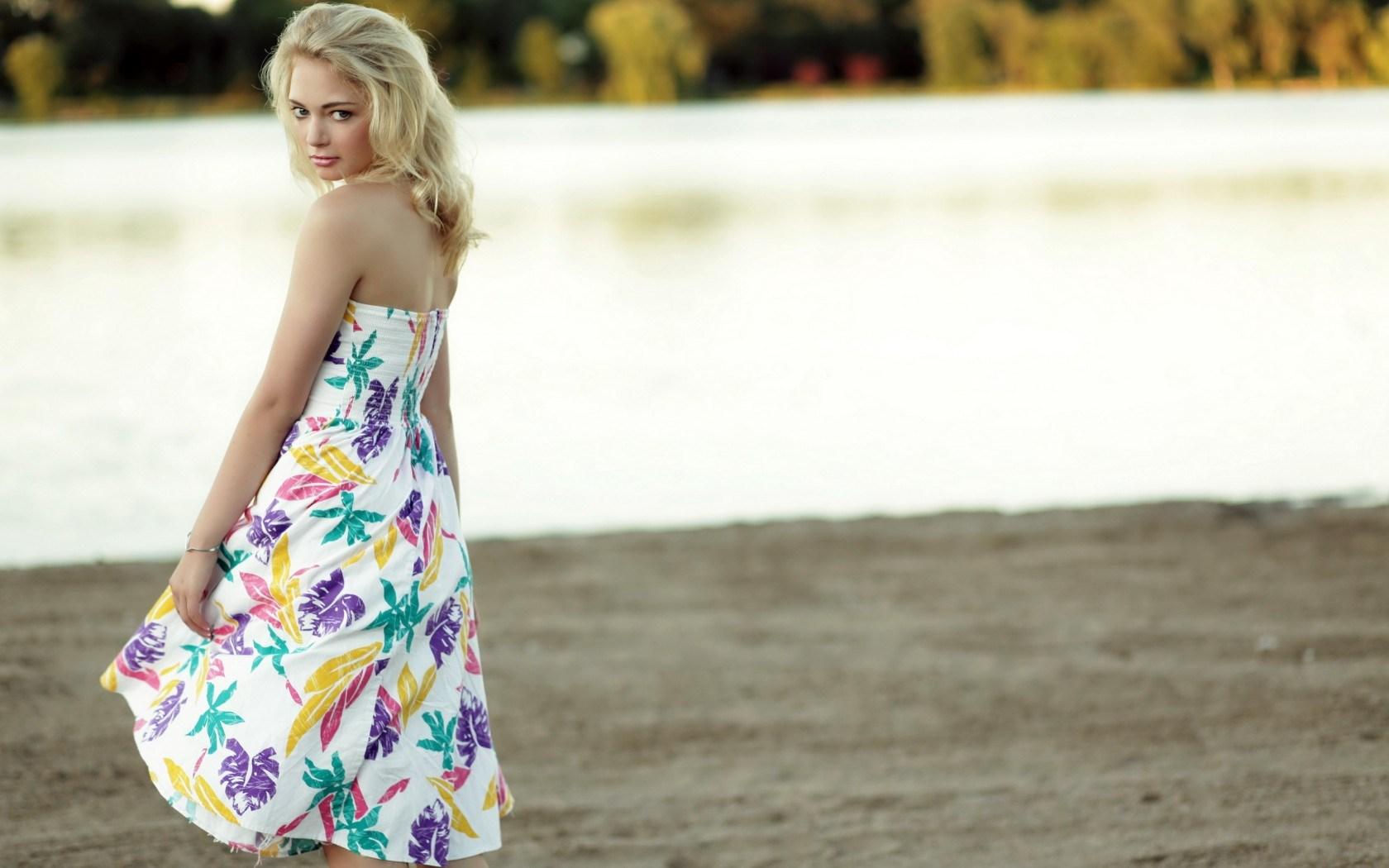 Girl Blonde Dress Lake