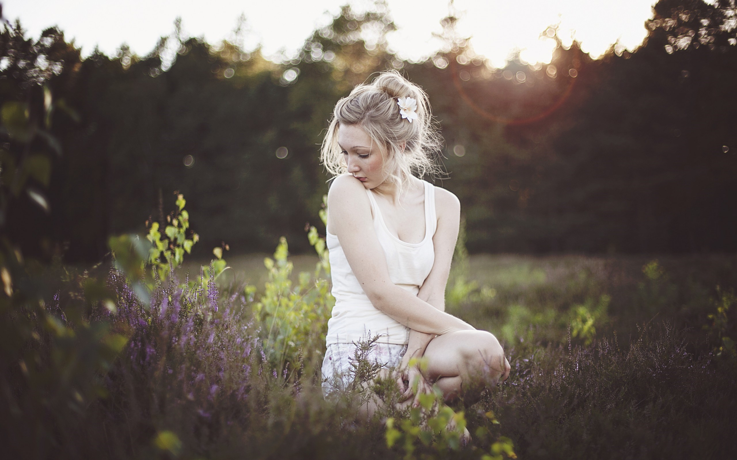 Girl Blonde Flowers Morning Meadow Grass