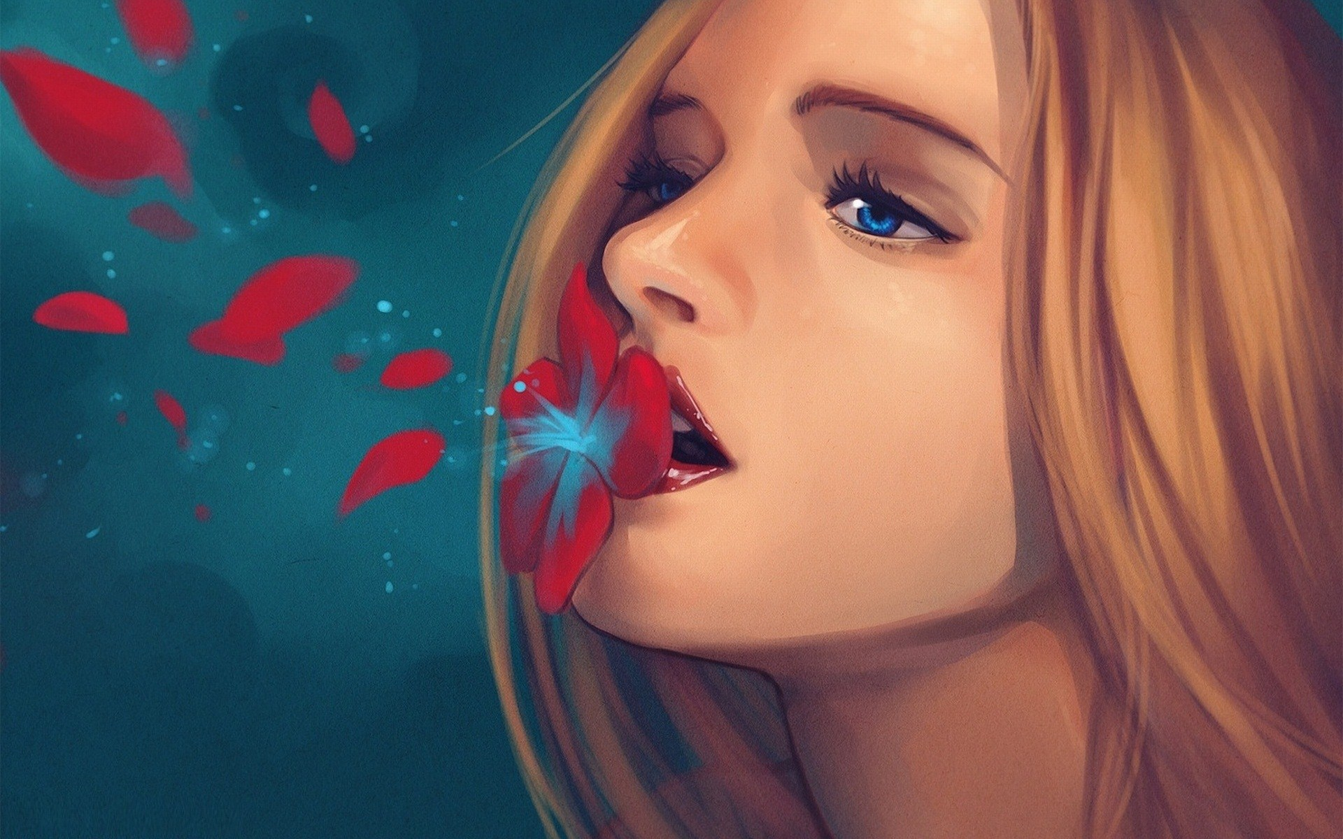 Portrait Blonde Girl Red Flower Petals Drawing Painting Art HD Wallpaper