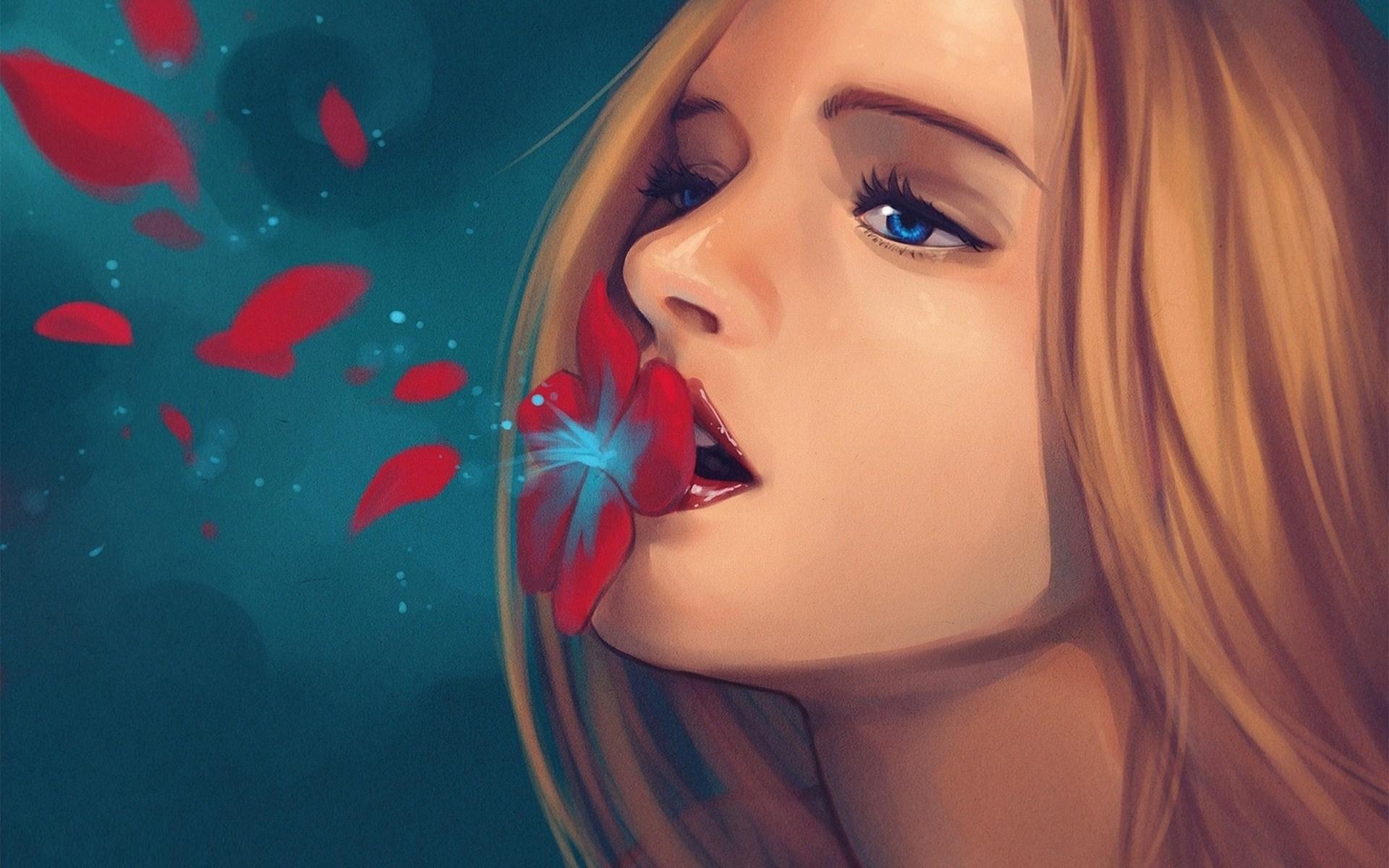 Girl Blonde Flowers Portrait