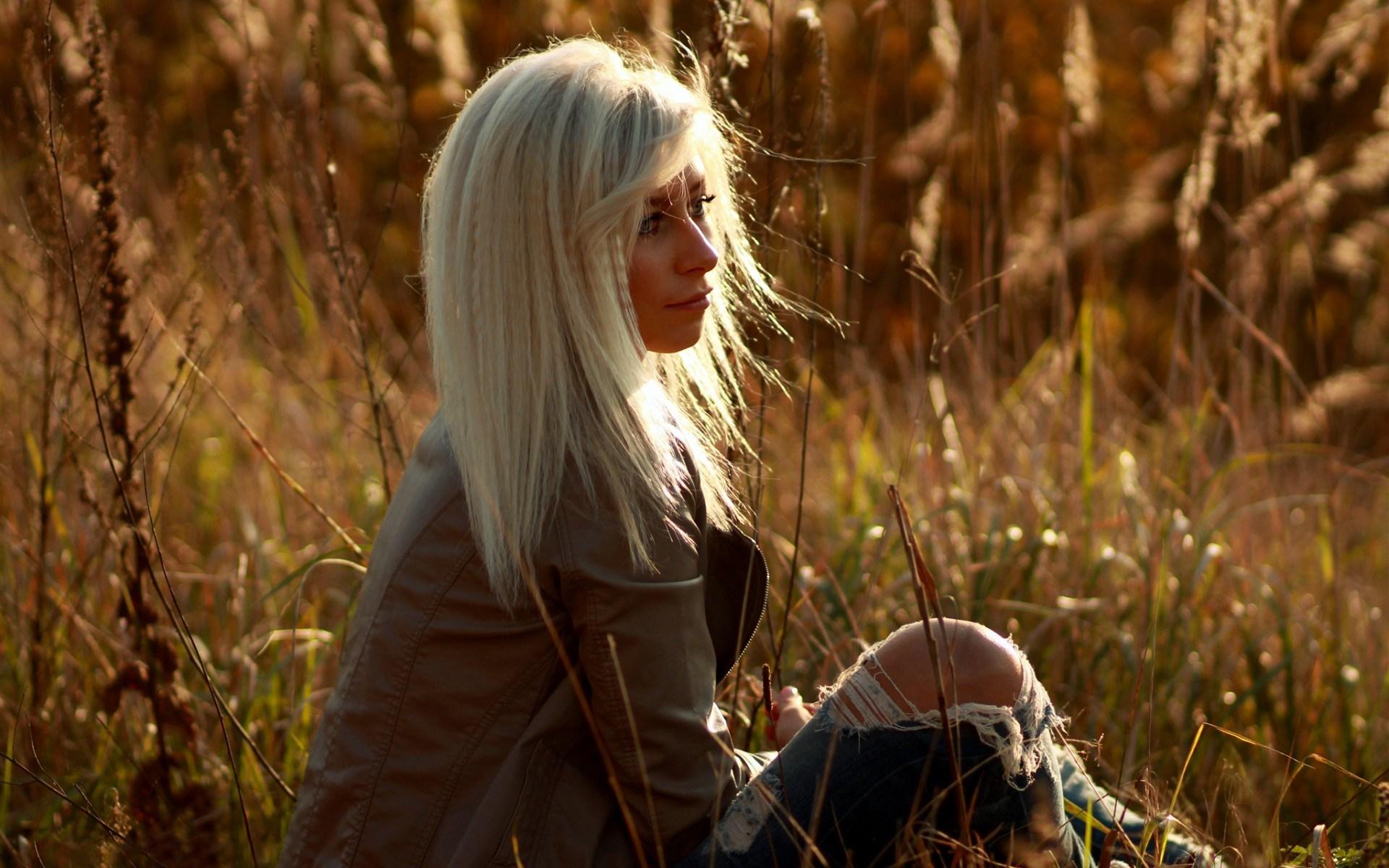 Girl Blonde Nature Grass Photo