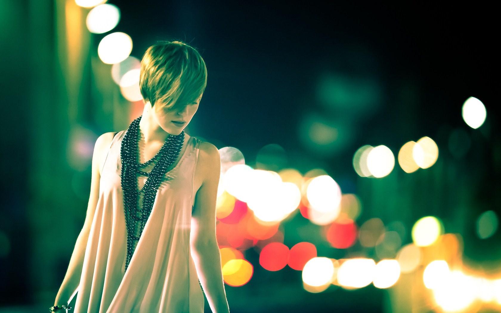 Girl Blonde Night Lights Bokeh